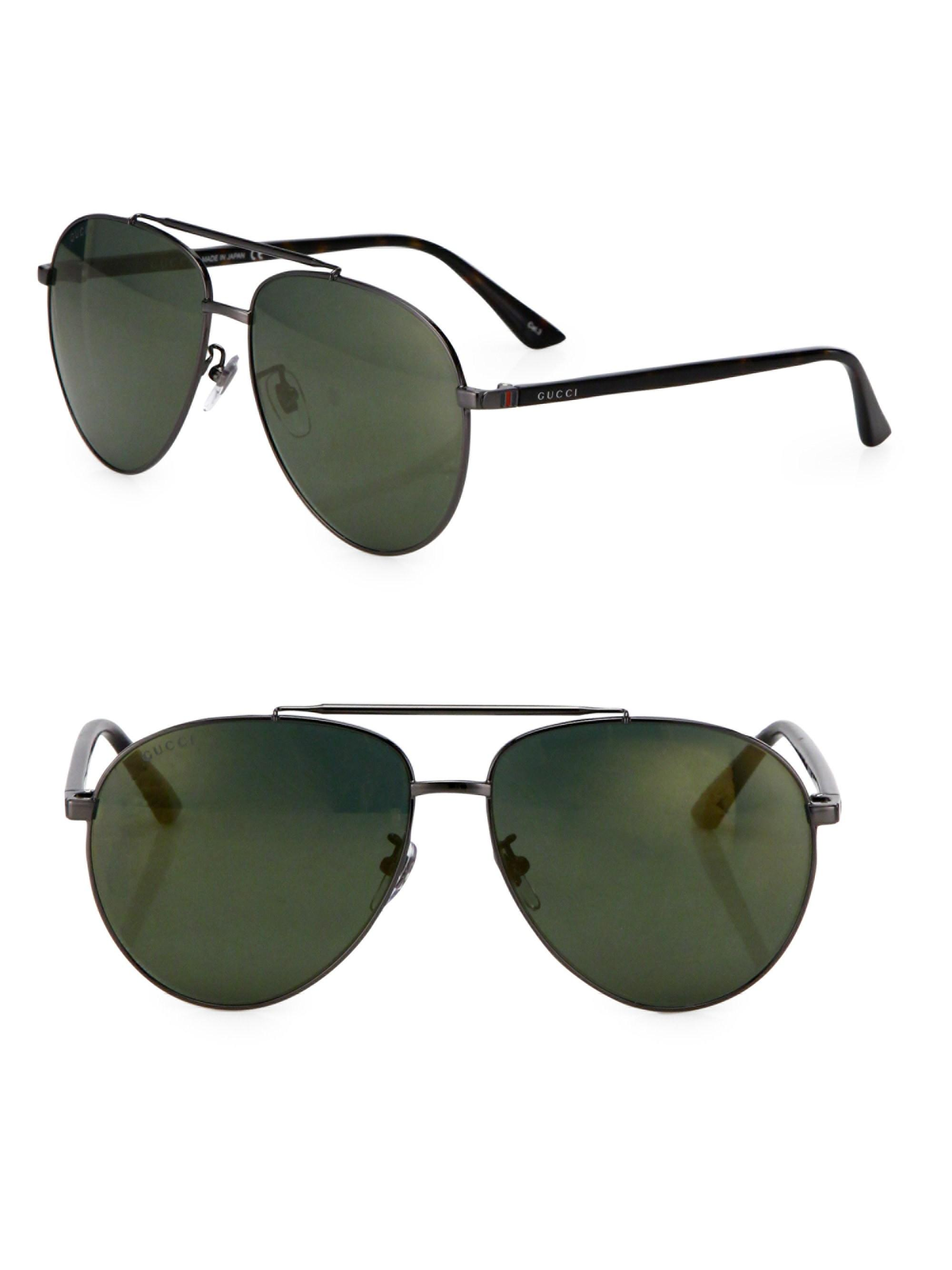 4b7dc8ded6 Lyst - Gucci 61mm Signature Logo Pilot Sunglasses in Green for Men