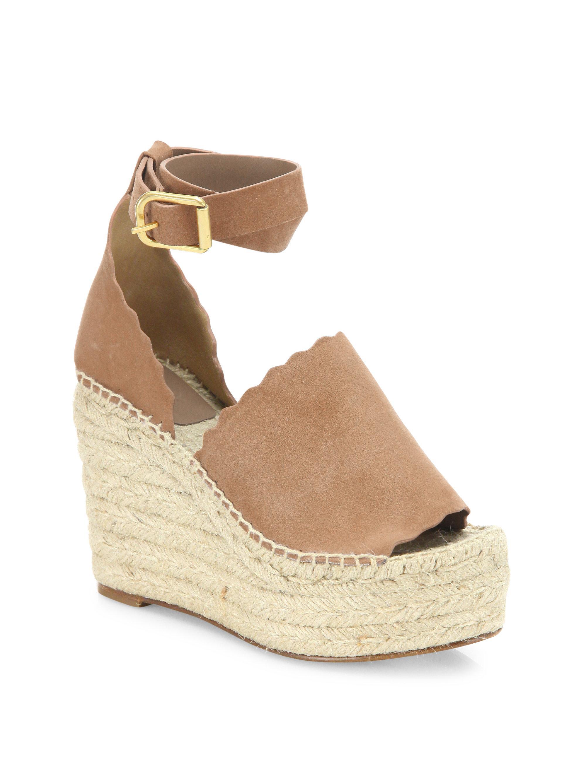ac4461e6c40 Chloé. Women s Natural Lauren Suede Ankle-strap Espadrille Wedge Sandals