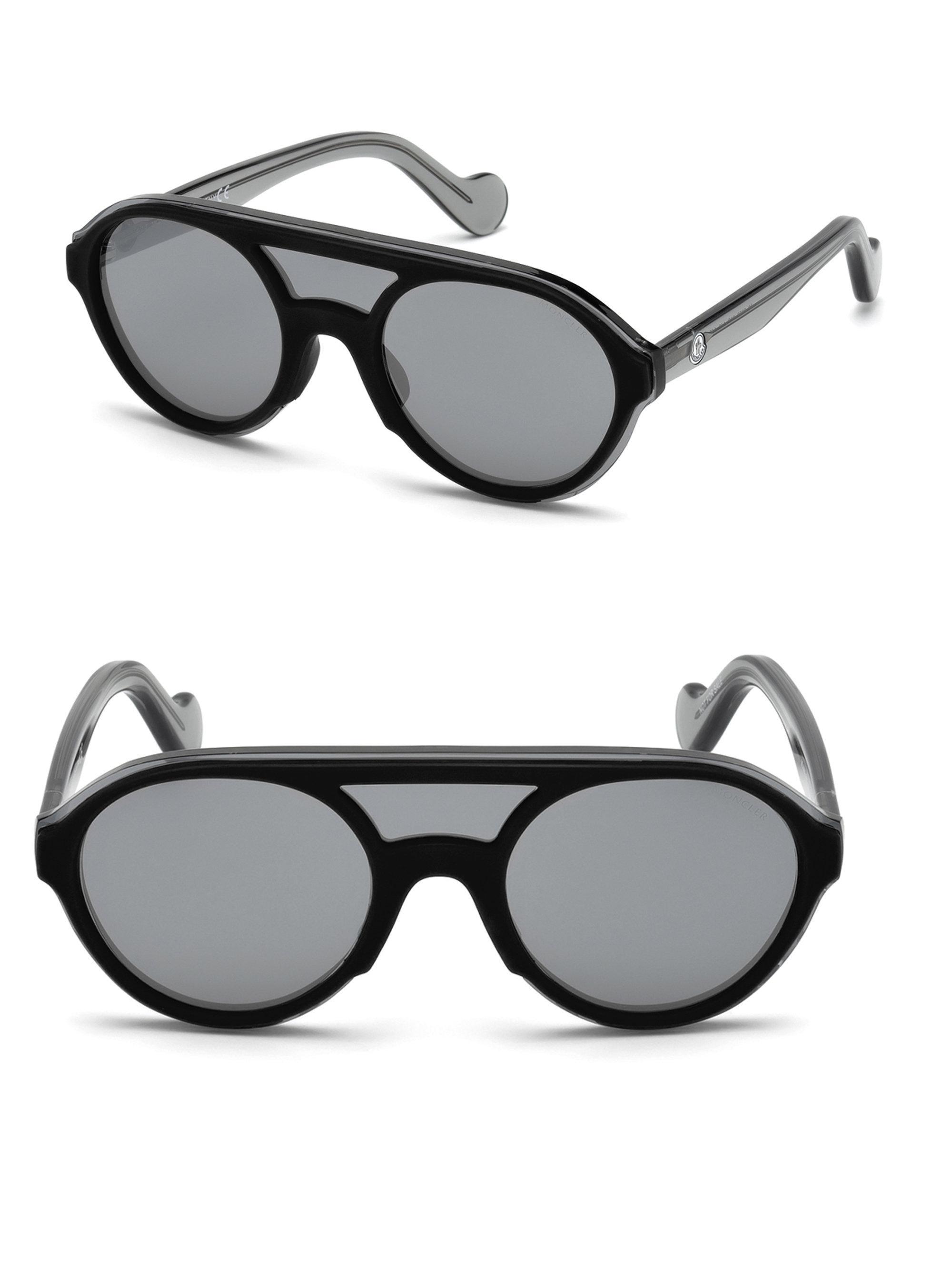 04ea8ecc9bd Moncler 47mm Double Bridge Round Sunglasses in Gray - Save 8% - Lyst