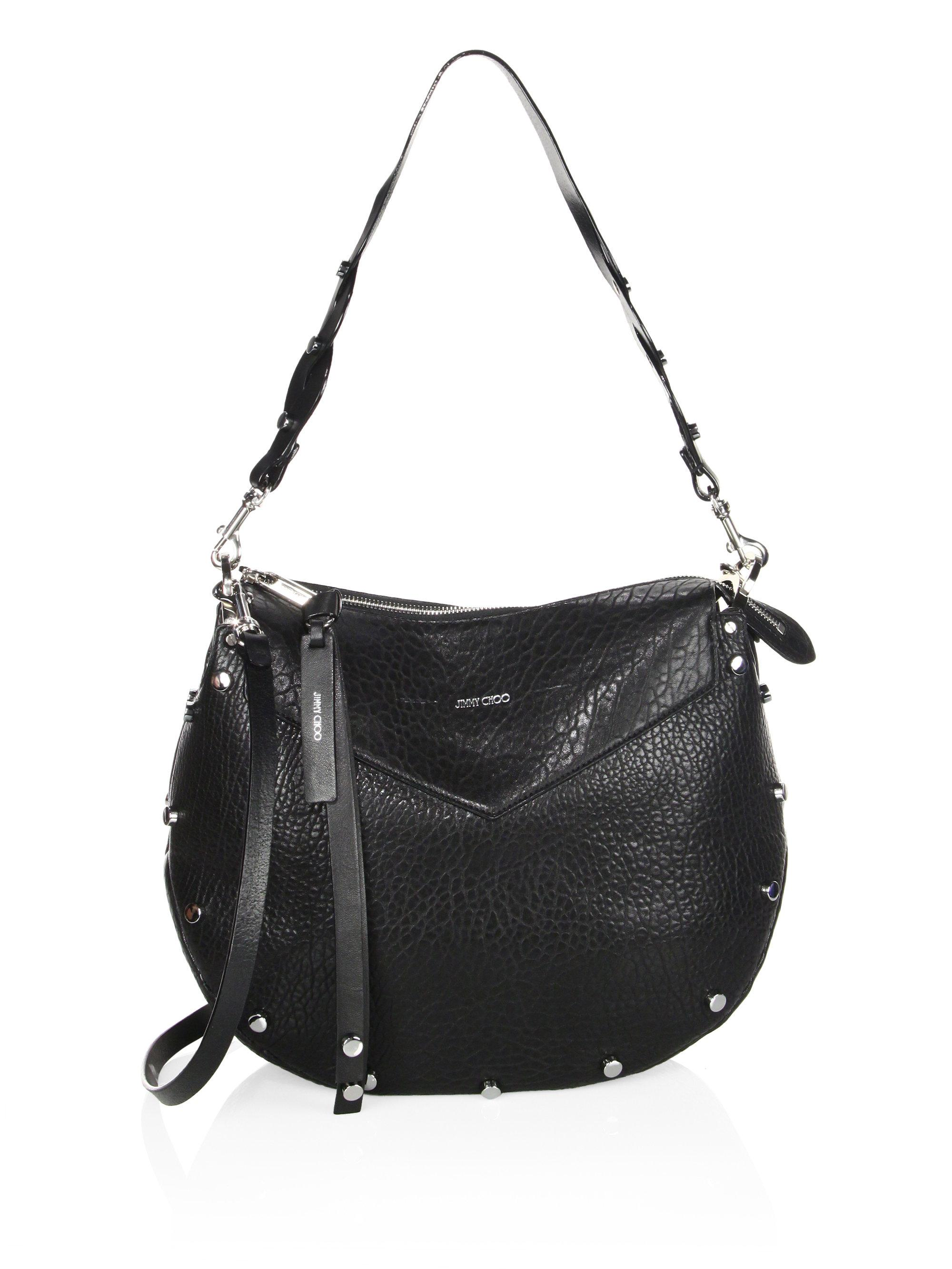d25894f3350fb Lyst - Jimmy Choo Artie Grainy Leather Shoulder Bag in Black