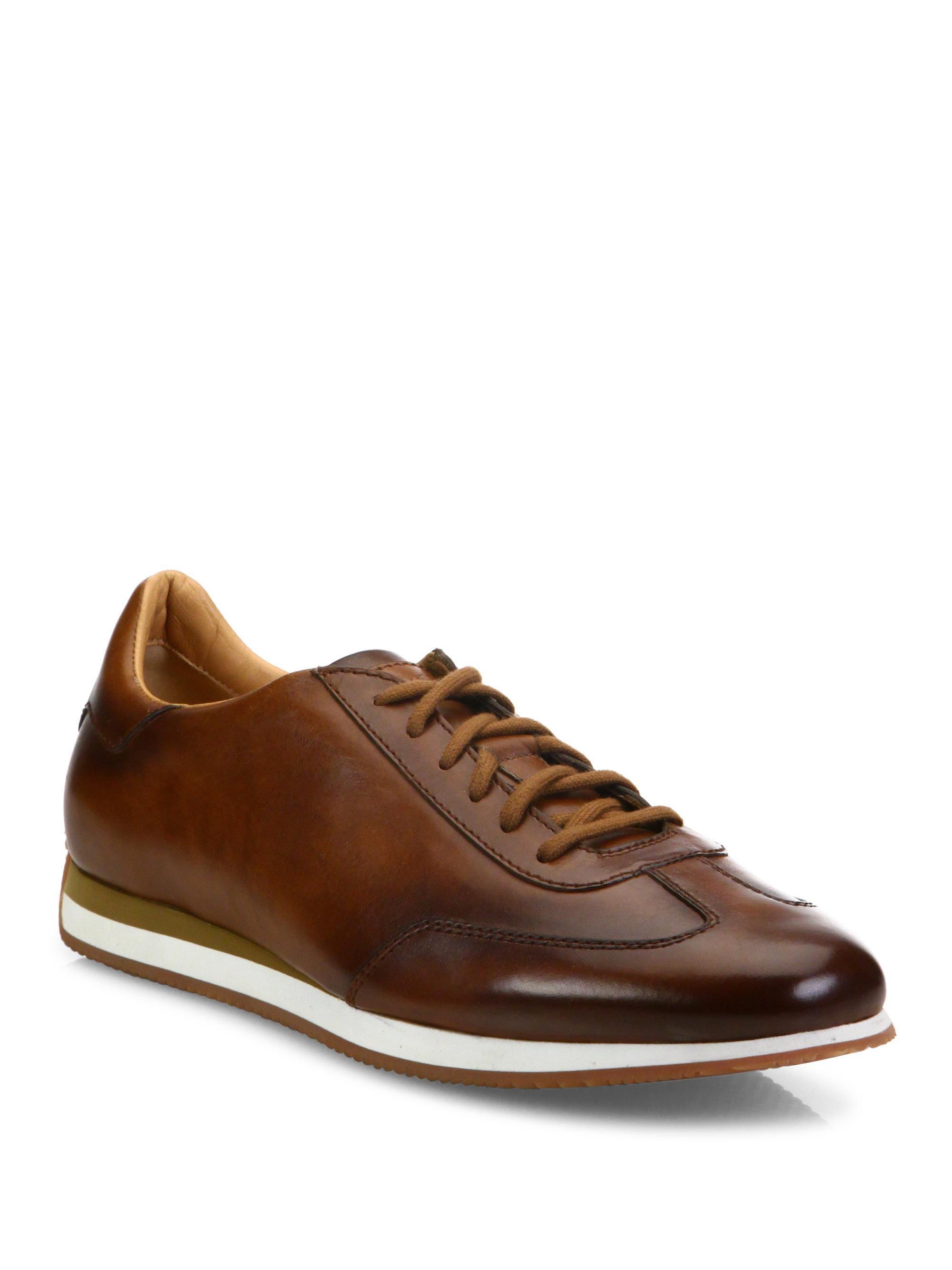 santoniLow-Top Leather Sneakers