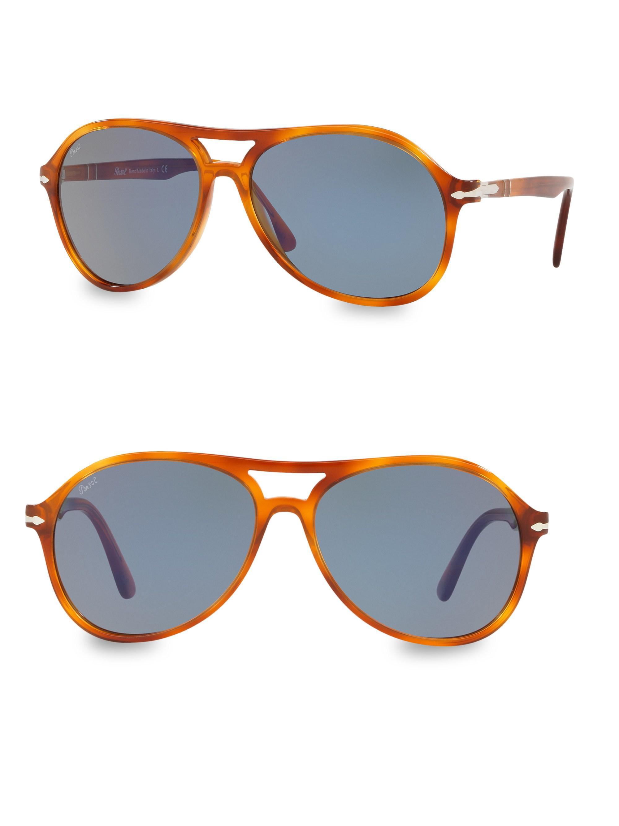 24063487292 Persol 59mm Solid Havana Sunglasses in Blue for Men - Lyst