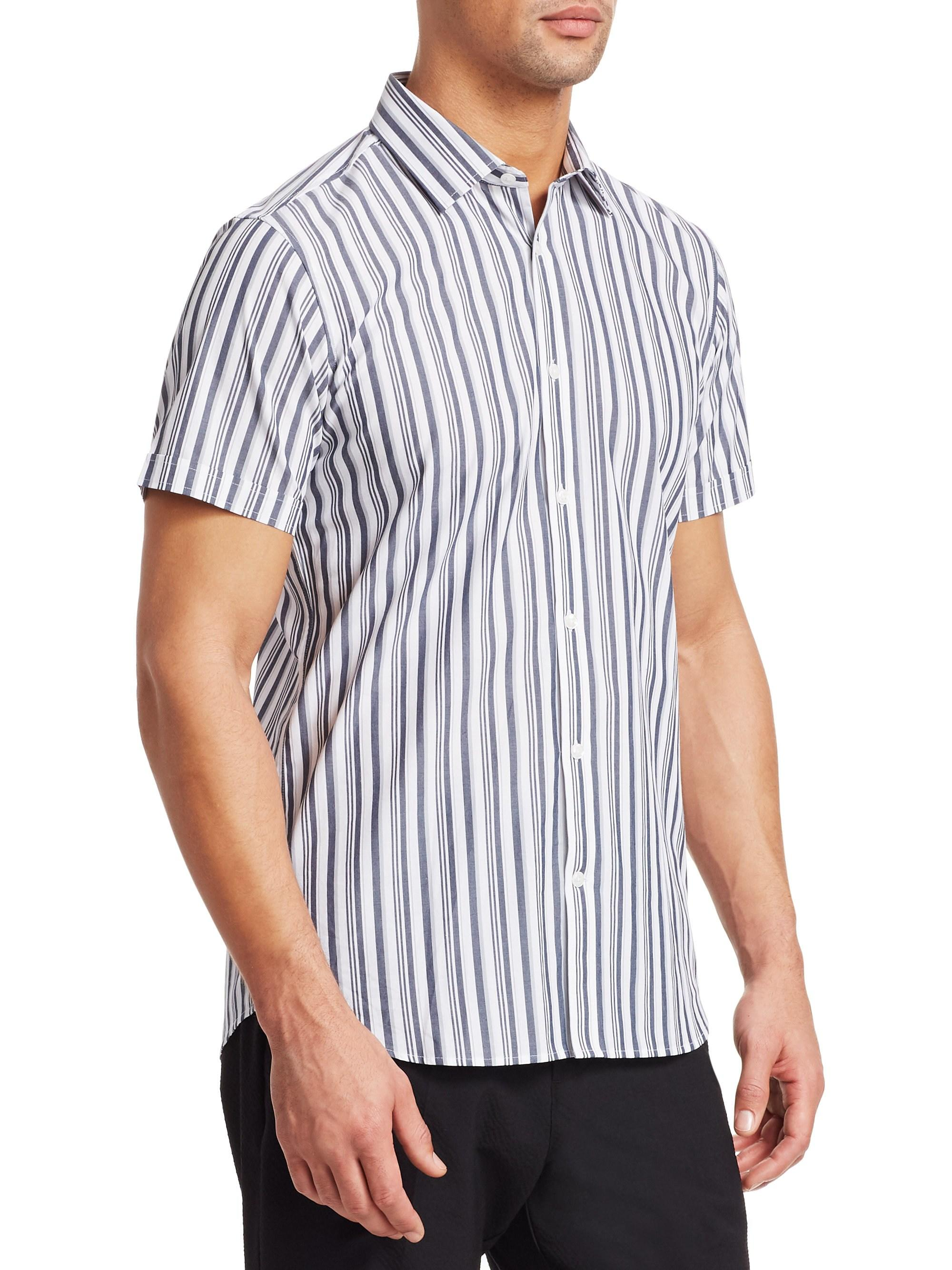 bac88d8f Saks Fifth Avenue Men's Modern Vertical Stripe Short-sleeve Shirt - White  Grey - Size Xxl in White for Men - Lyst