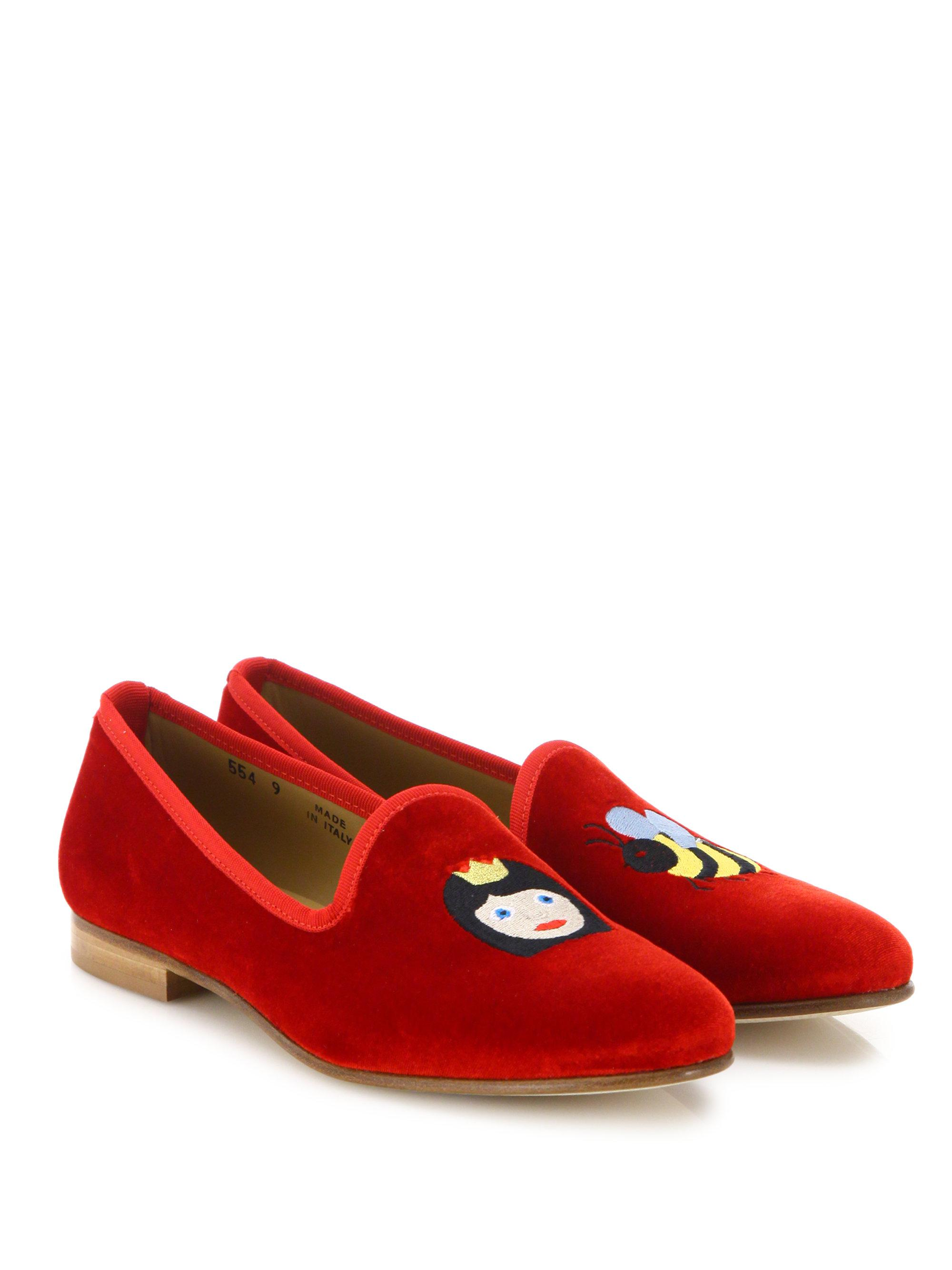 DEL TORO Queen Bee Velvet Smoking Loafers