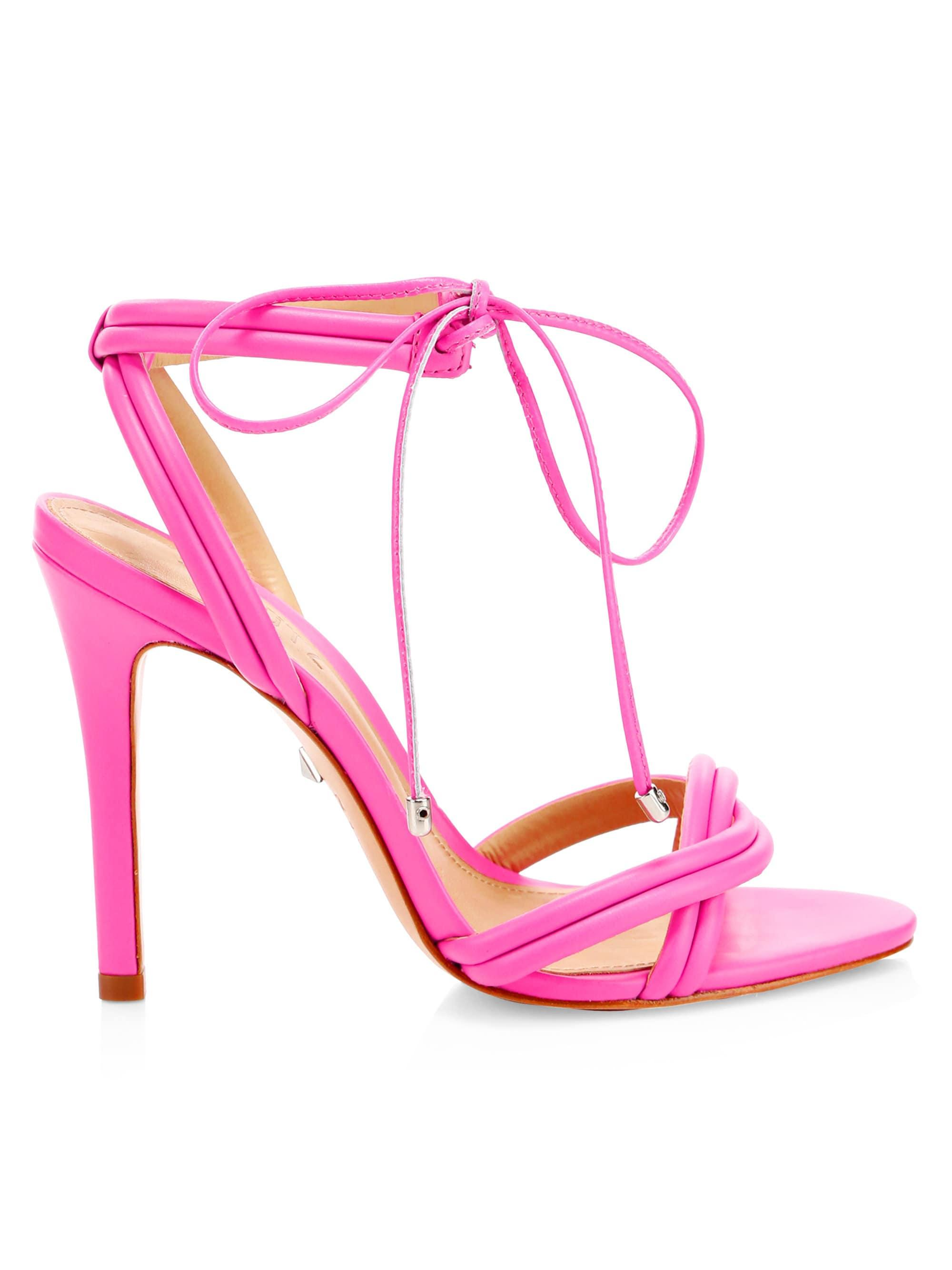 31eb8e0d9700 Lyst - Schutz Yvi Ankle-tie Leather Sandals in Pink