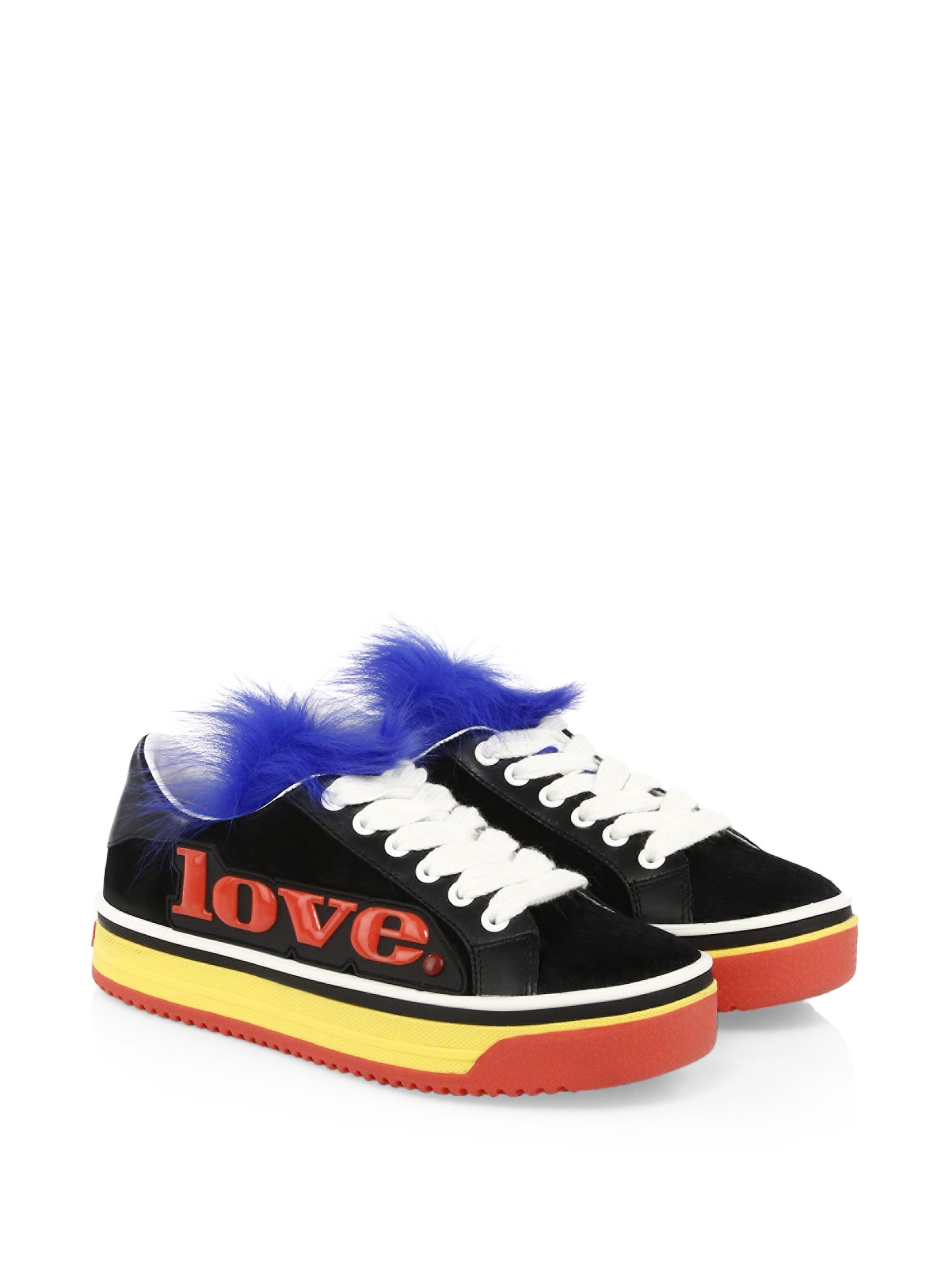 Marc Jacobs Love Empire Fur-Trim Platform Sneakers L7SRuzA