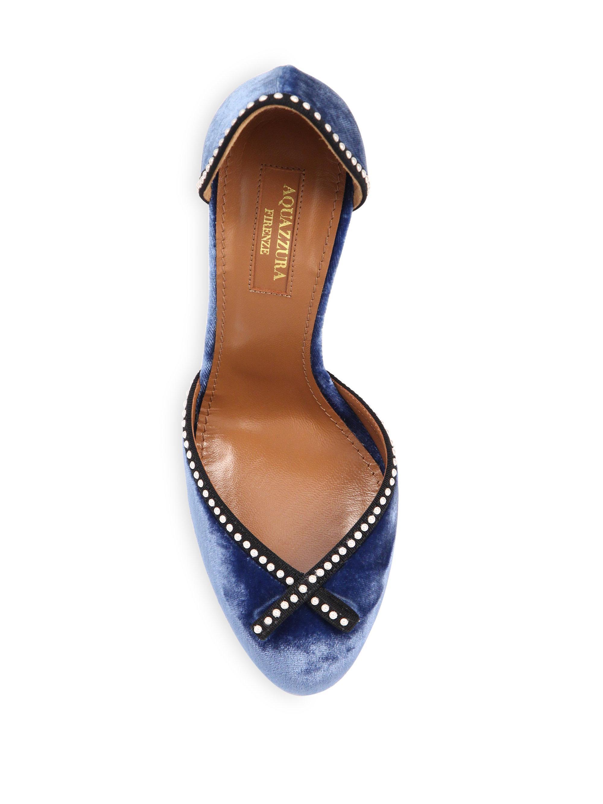 0fe3dc9feab Lyst - Aquazzura Lou Lou Pearly Velvet Block Heel Pumps in Blue
