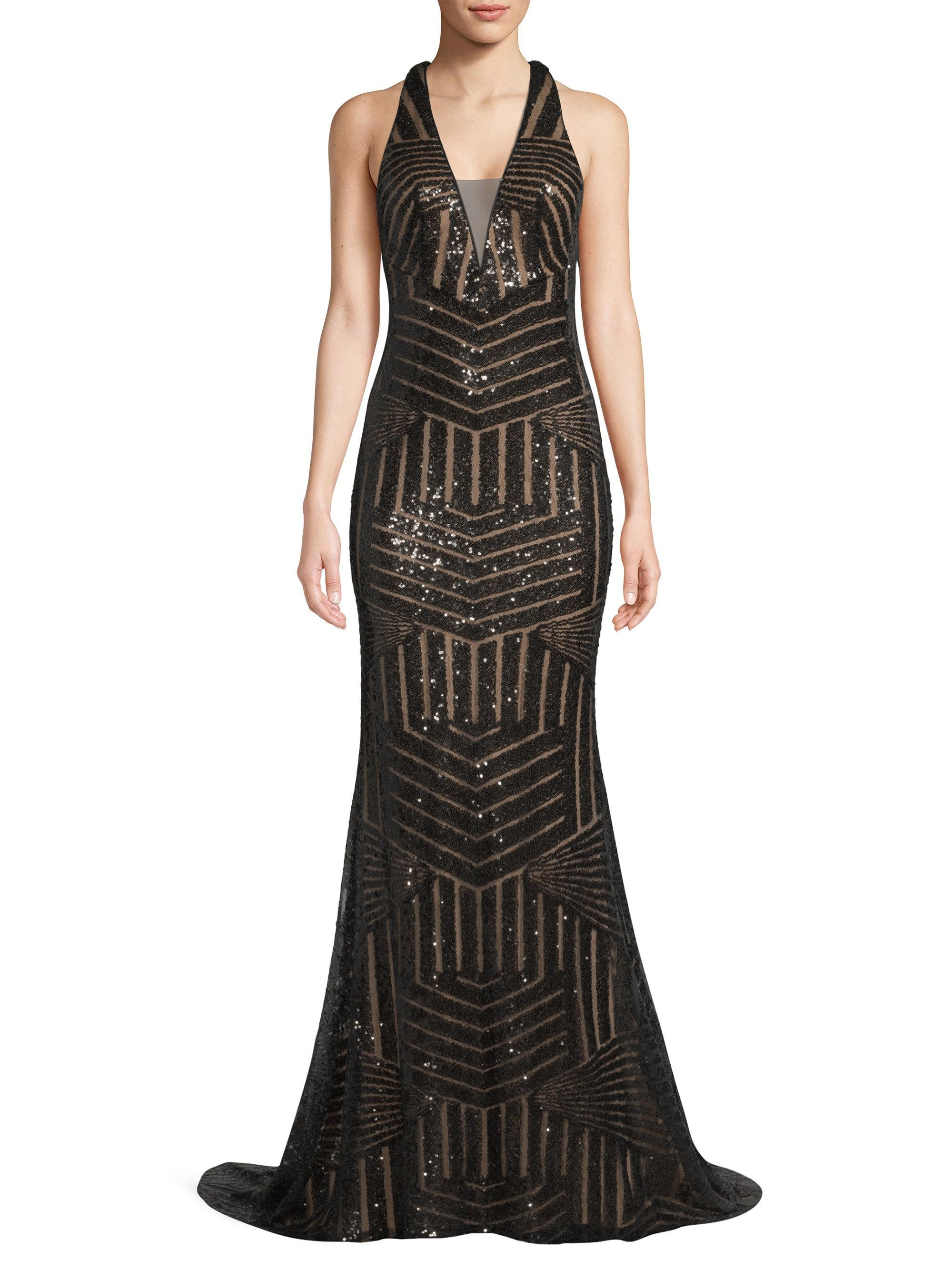 eff49e18724 Basix Black Label Graphic Mermaid Gown in Black - Lyst