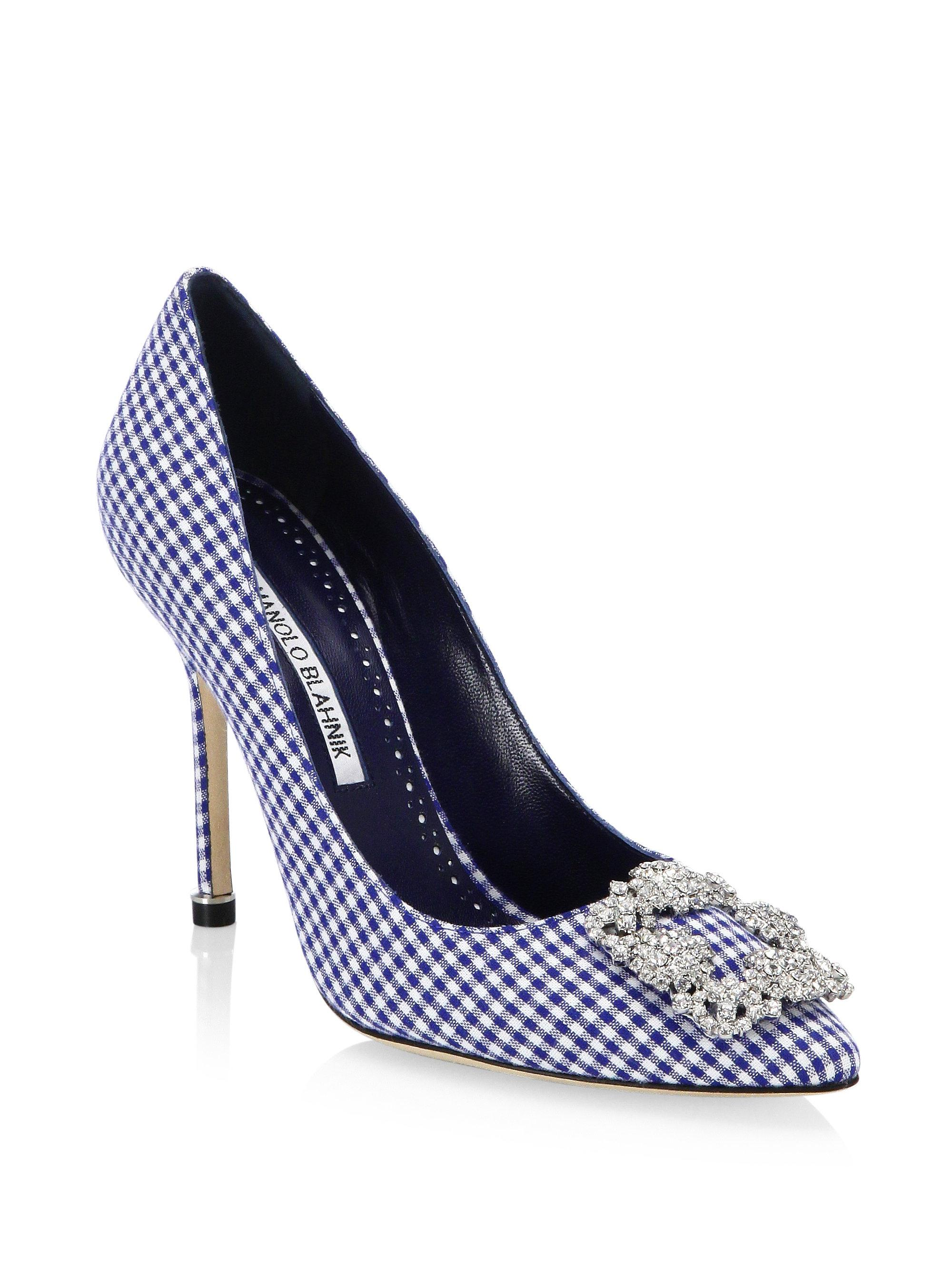 Manolo Blahnik Hangisi 105 Crystal-Buckle Gingham Pump