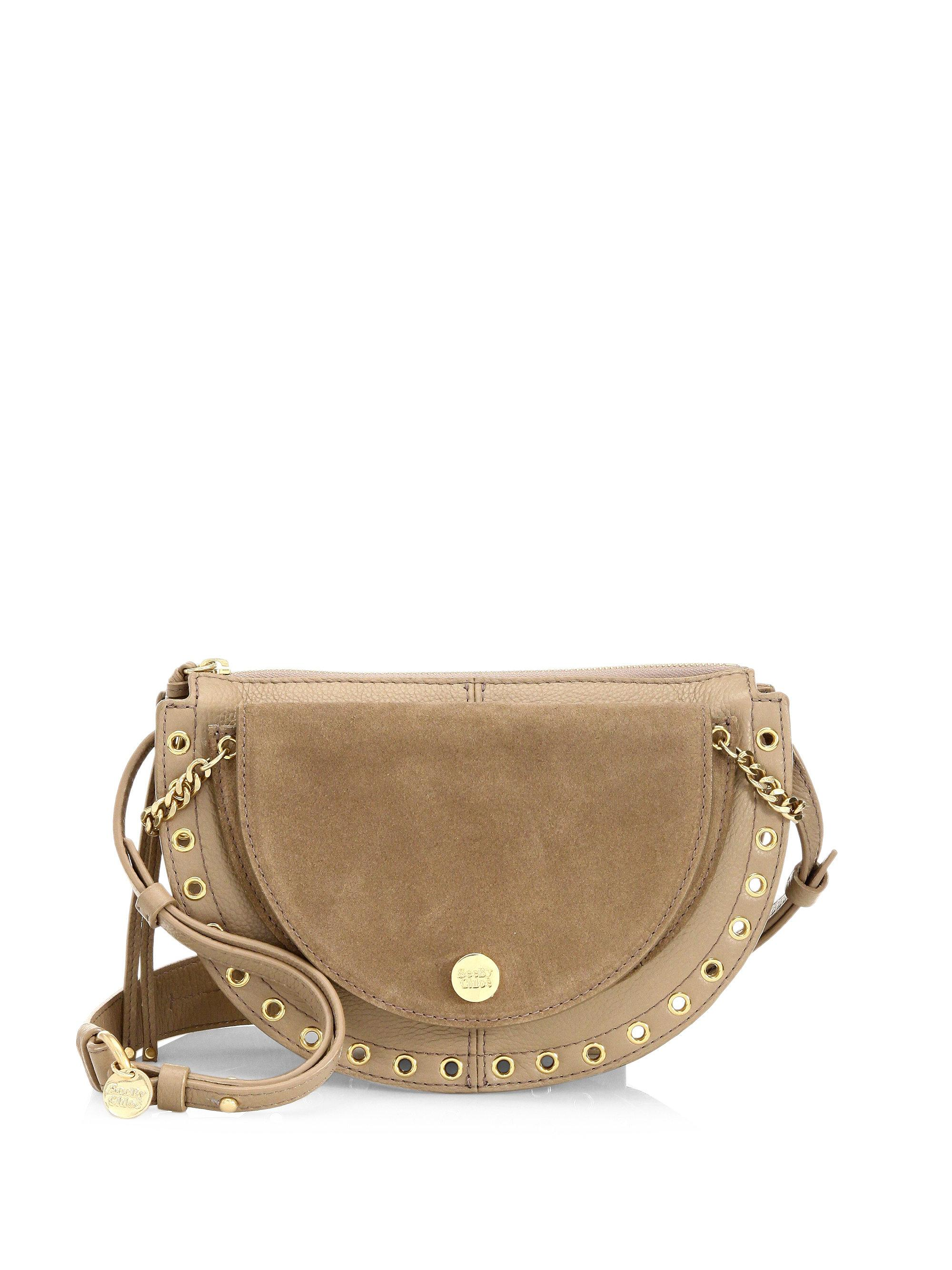 Kriss Small Crossbody Bag in Berry Pink Grained Cowhide Leather and Suede Leather See By Chloé lpI8GJ