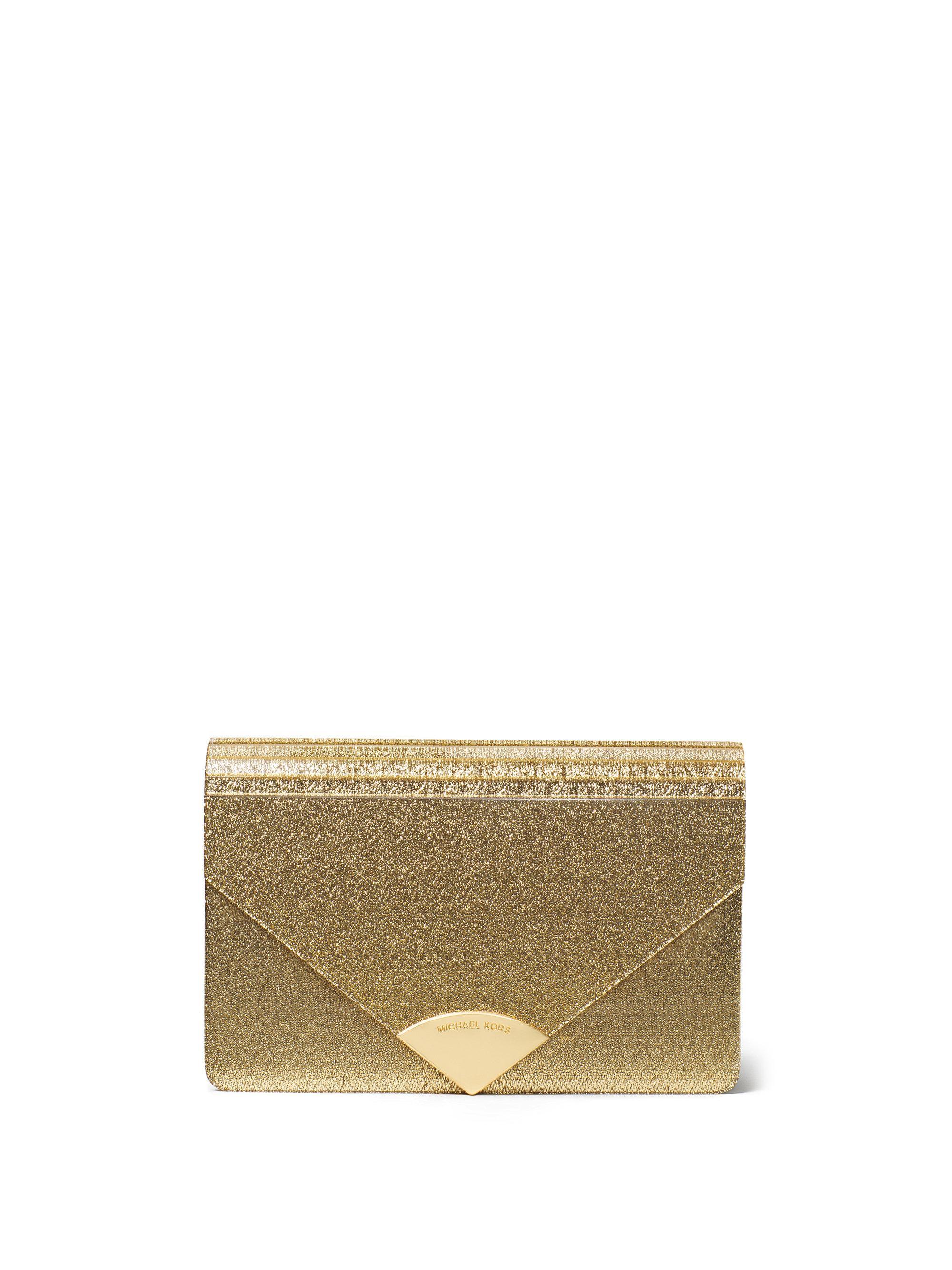 f5597a32a885 Lyst - Michael Kors Barbara Medium Envelope Clutch in Metallic