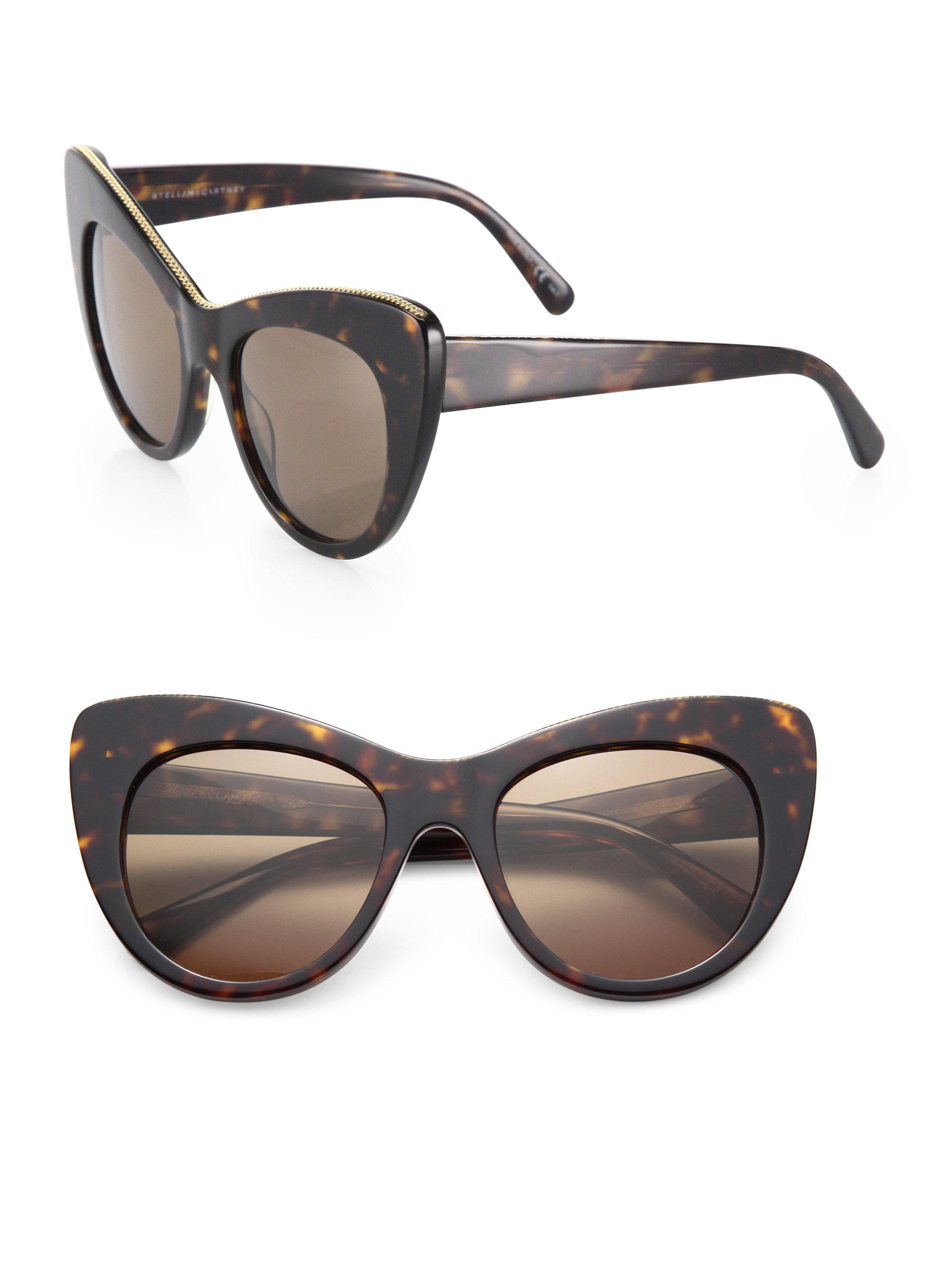 48b311e136641 Stella McCartney. Women s Black Falabella Chain 53mm Oversized Cat s-eye  Sunglasses