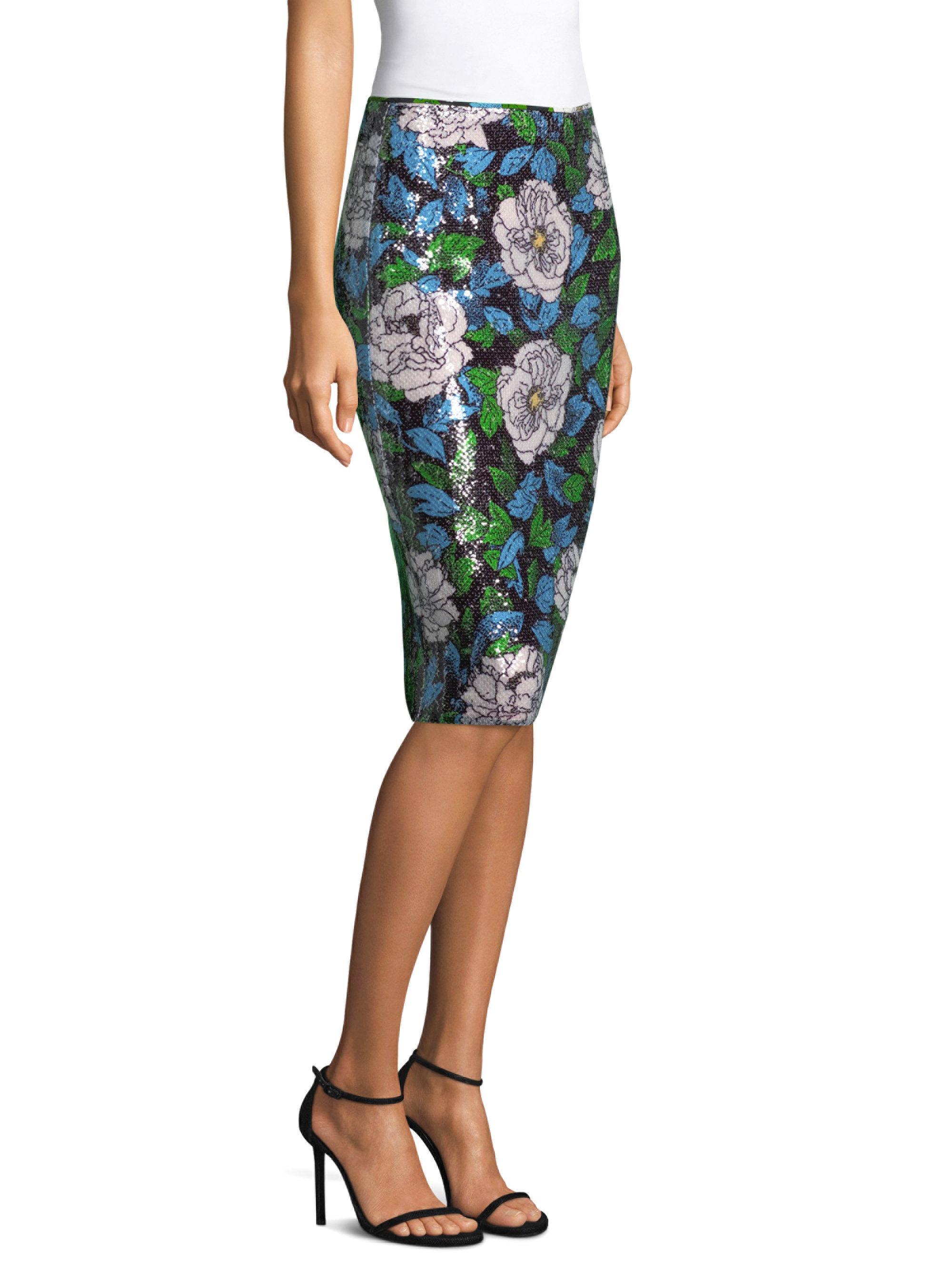 dd924fd54 Diane von Furstenberg Sequin Pencil Skirt in Blue - Lyst