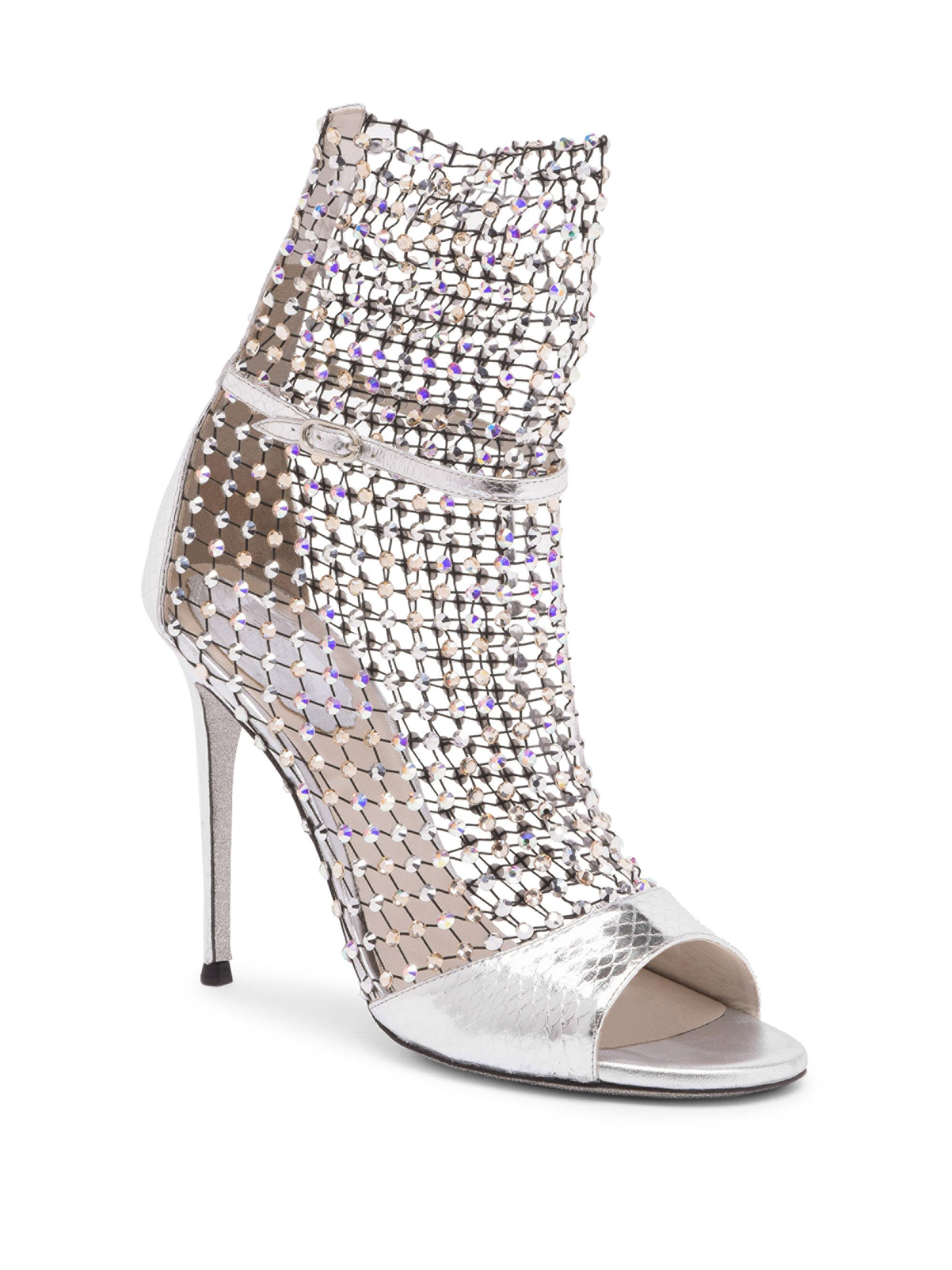 be0ceda62ffb Rene Caovilla Crystal Mesh Ayers Snake Leather Open-toe Ankle Boots ...
