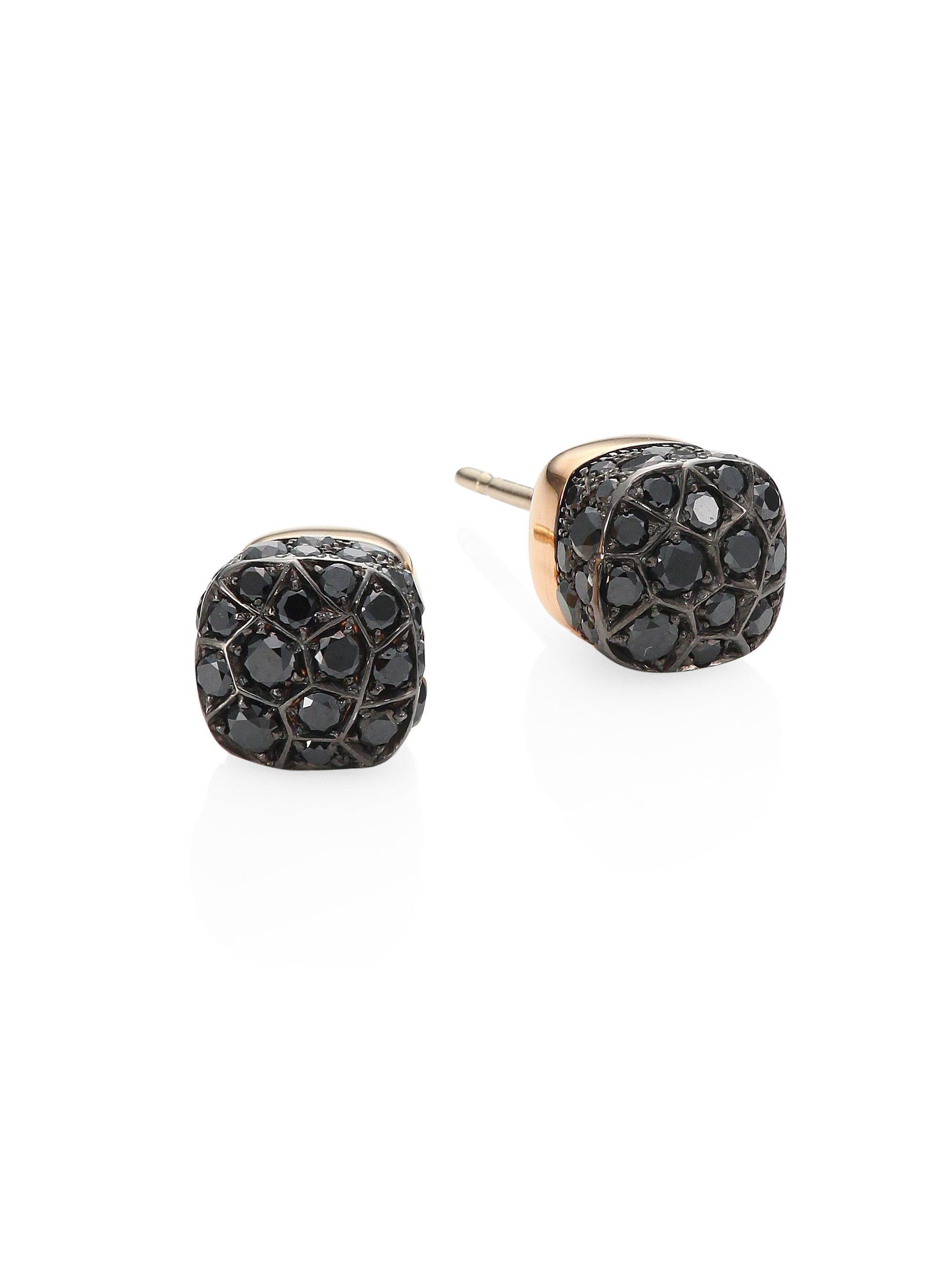 lyst pomellato nudo black diamond 18k rose gold stud. Black Bedroom Furniture Sets. Home Design Ideas