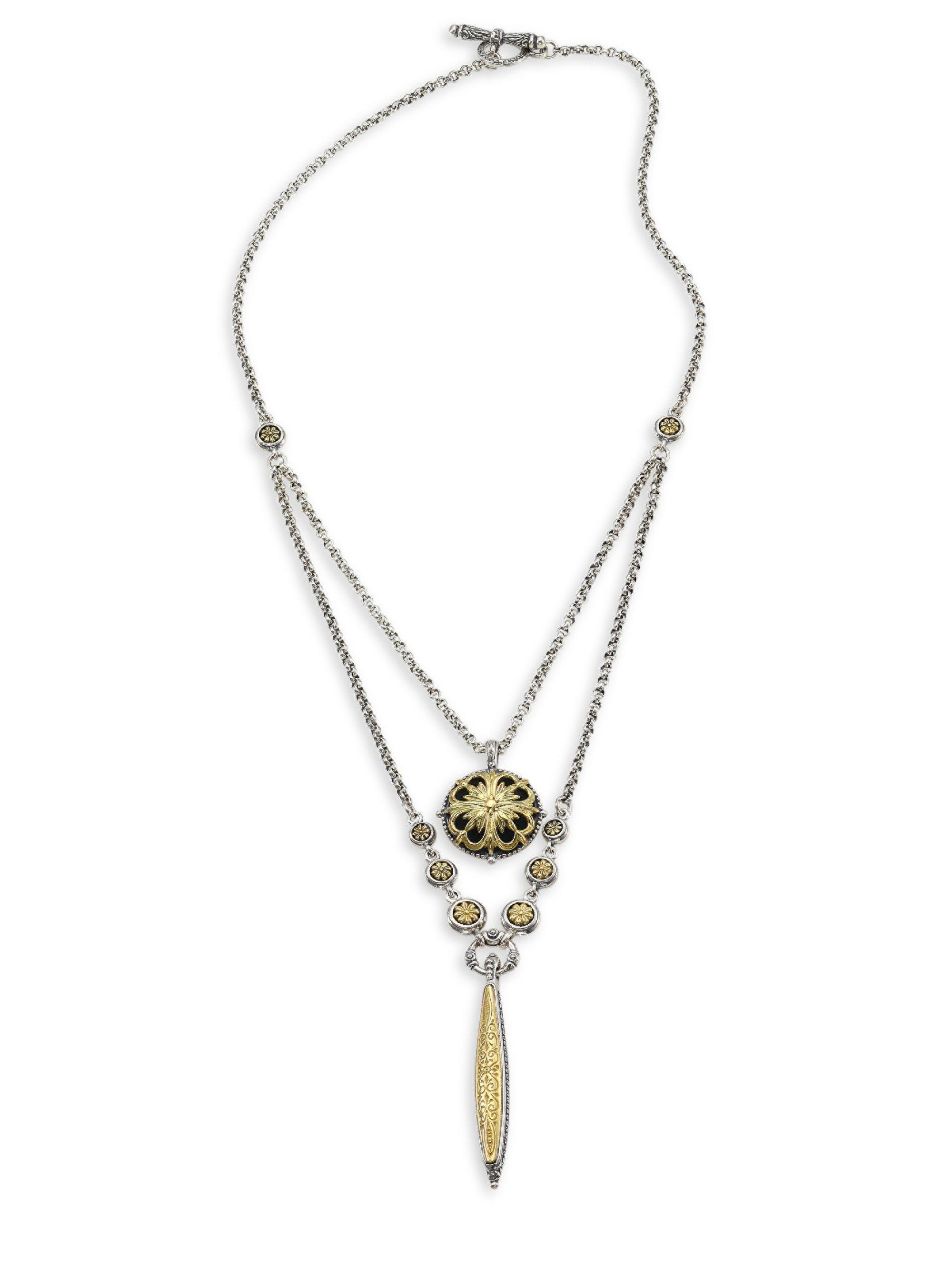 Konstantino Sterling Silver & 18K Gold Double Chain Pendant Necklace eijvlpggyE