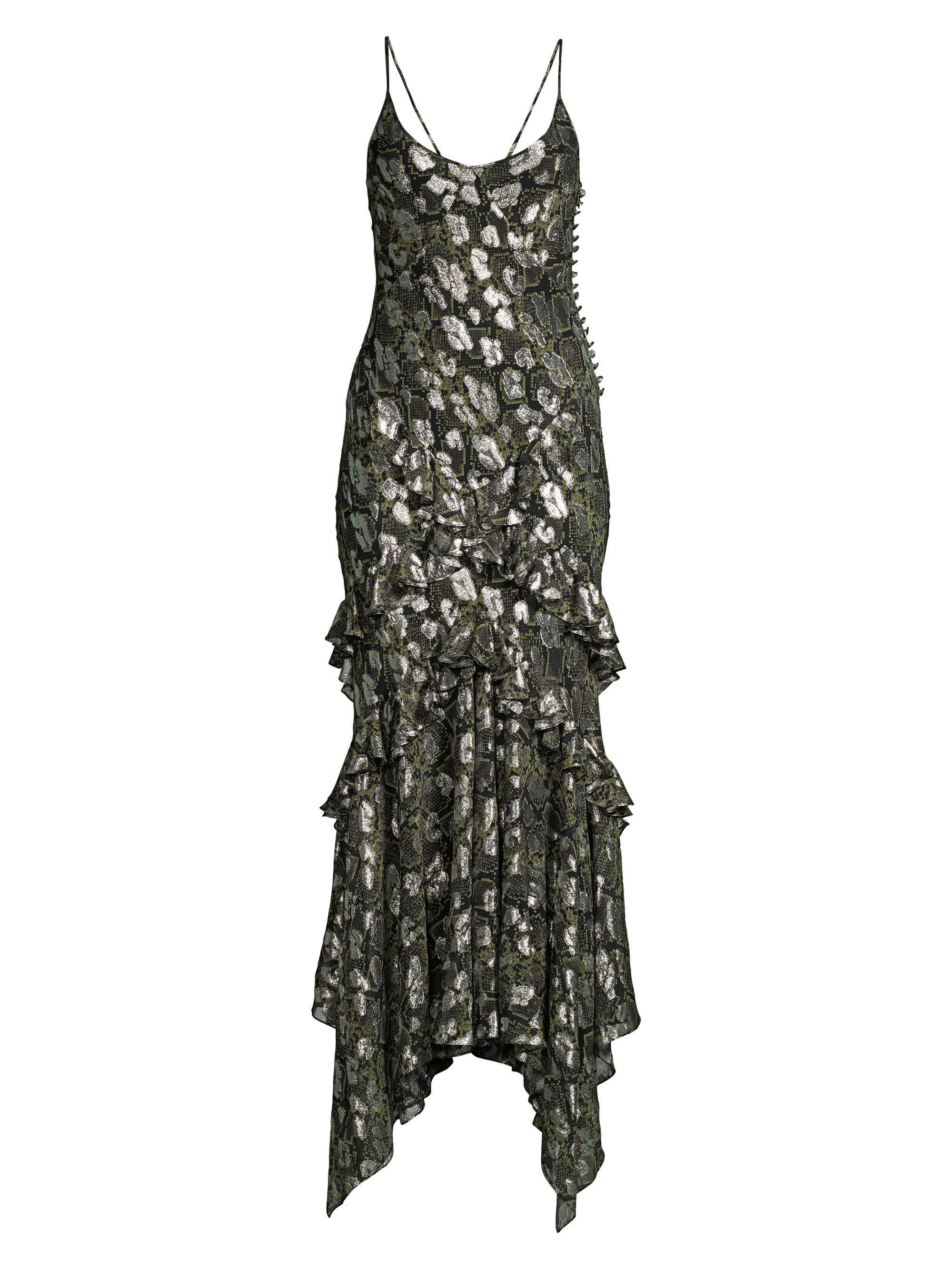 4fb86a0359 Lyst - Michael Kors Women's Ruffled Metallic Python-print Slip Dress ...