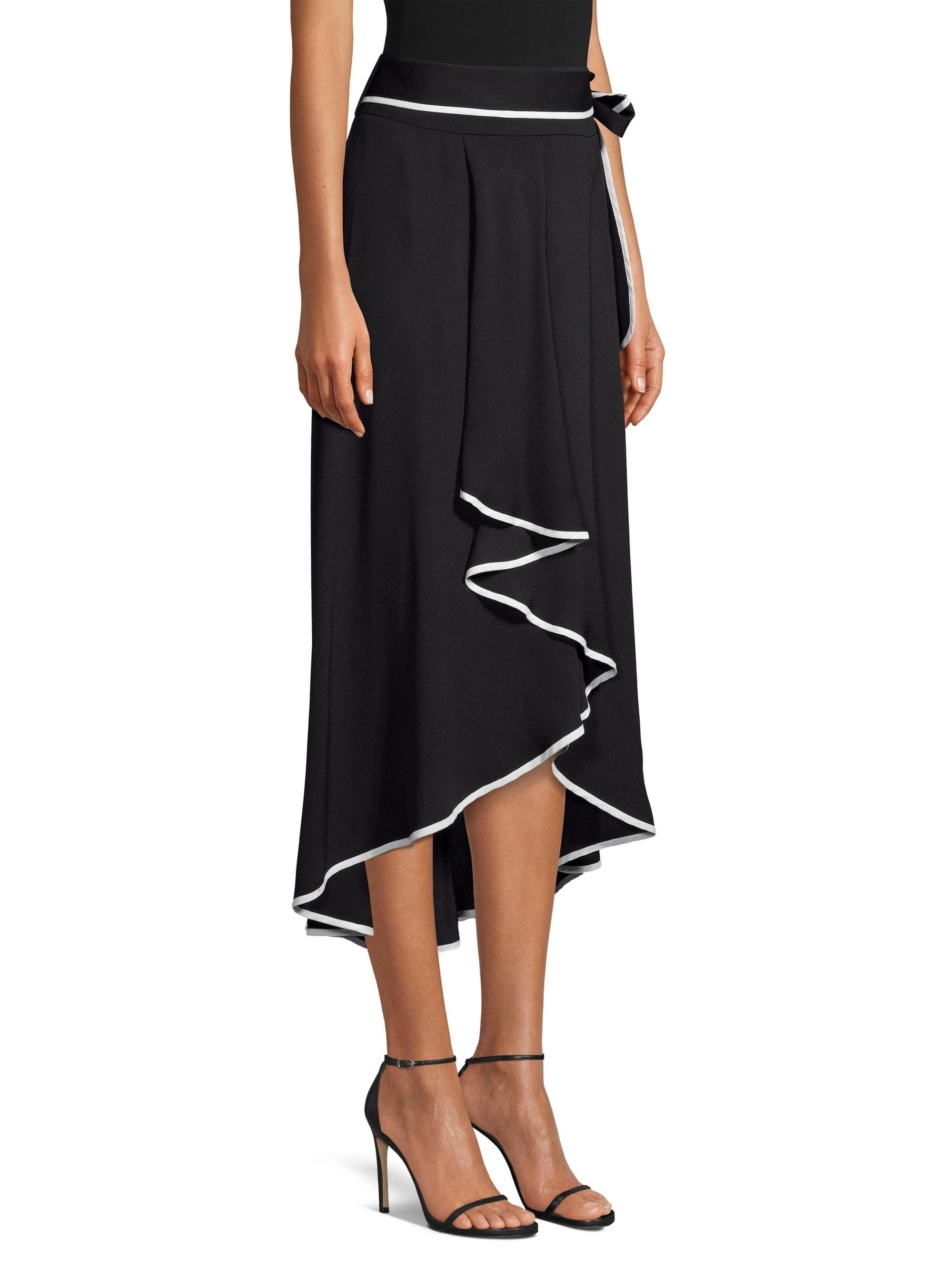 ccae617aa7 Lyst - Beatrice B. Tie-waist Contrast Piping High-low Midi Skirt in ...