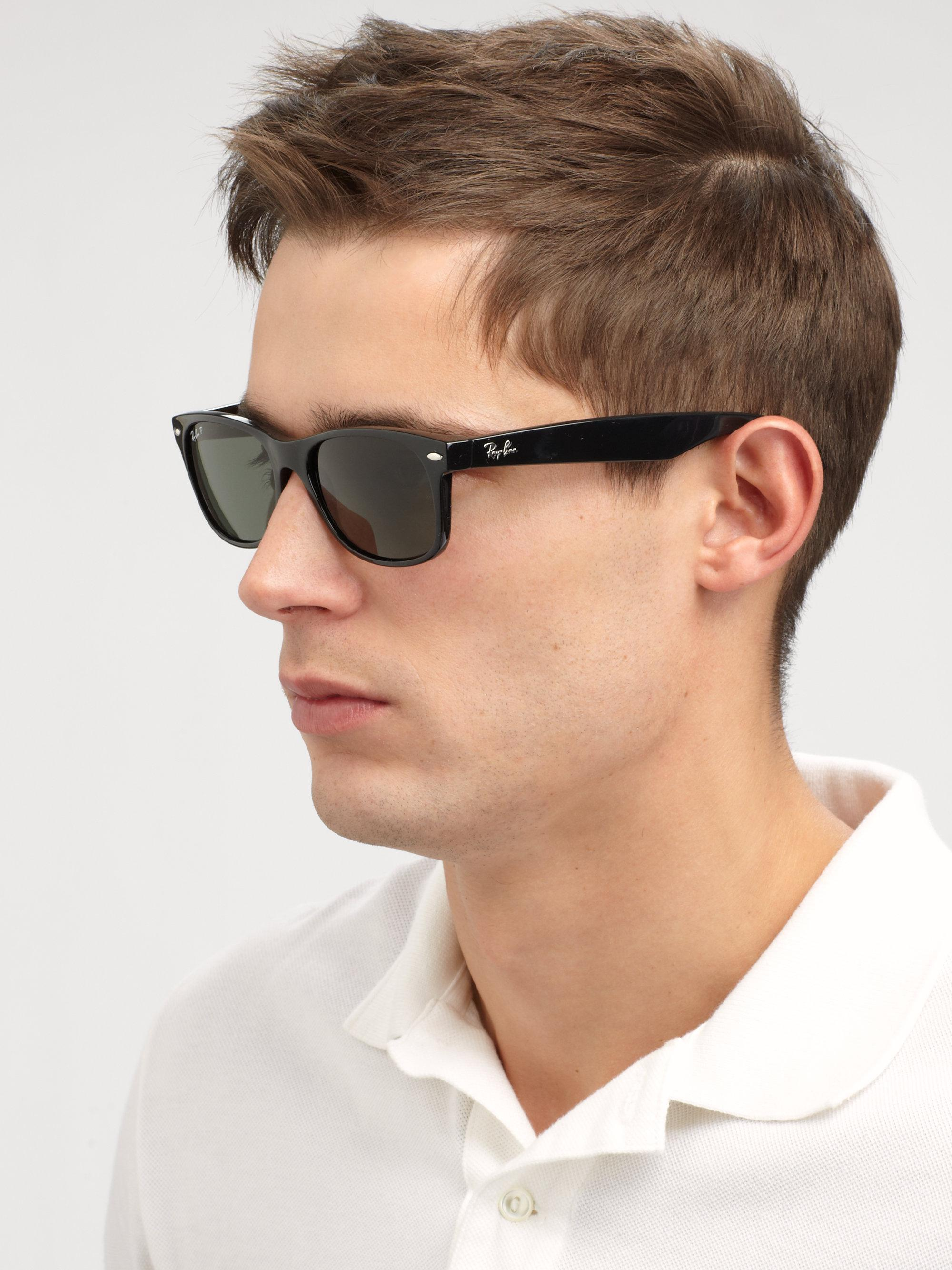 f2aa835d54a ... where can i buy ray ban black 55mm new wayfarer sunglasses for men lyst.  view