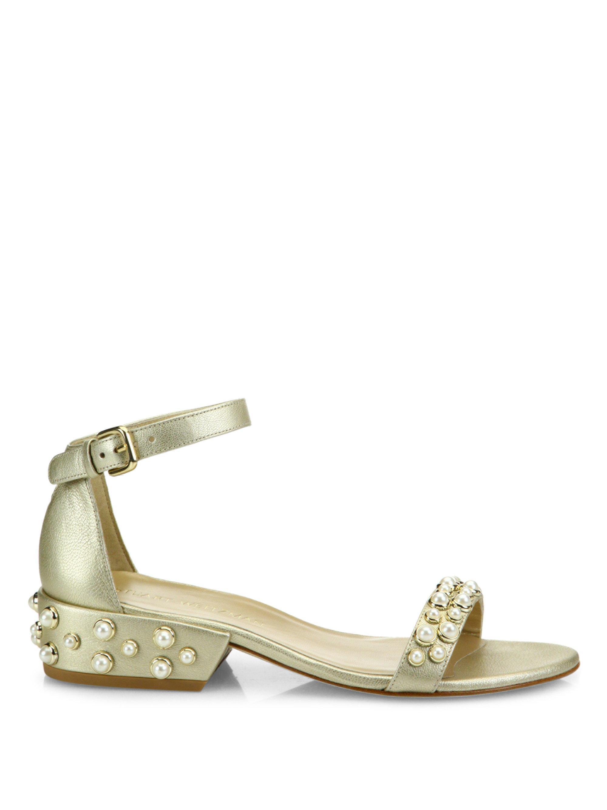 classic for sale Stuart Weitzman All Pearl Metallic Sandals big sale sale online Jkbe9ayN8S