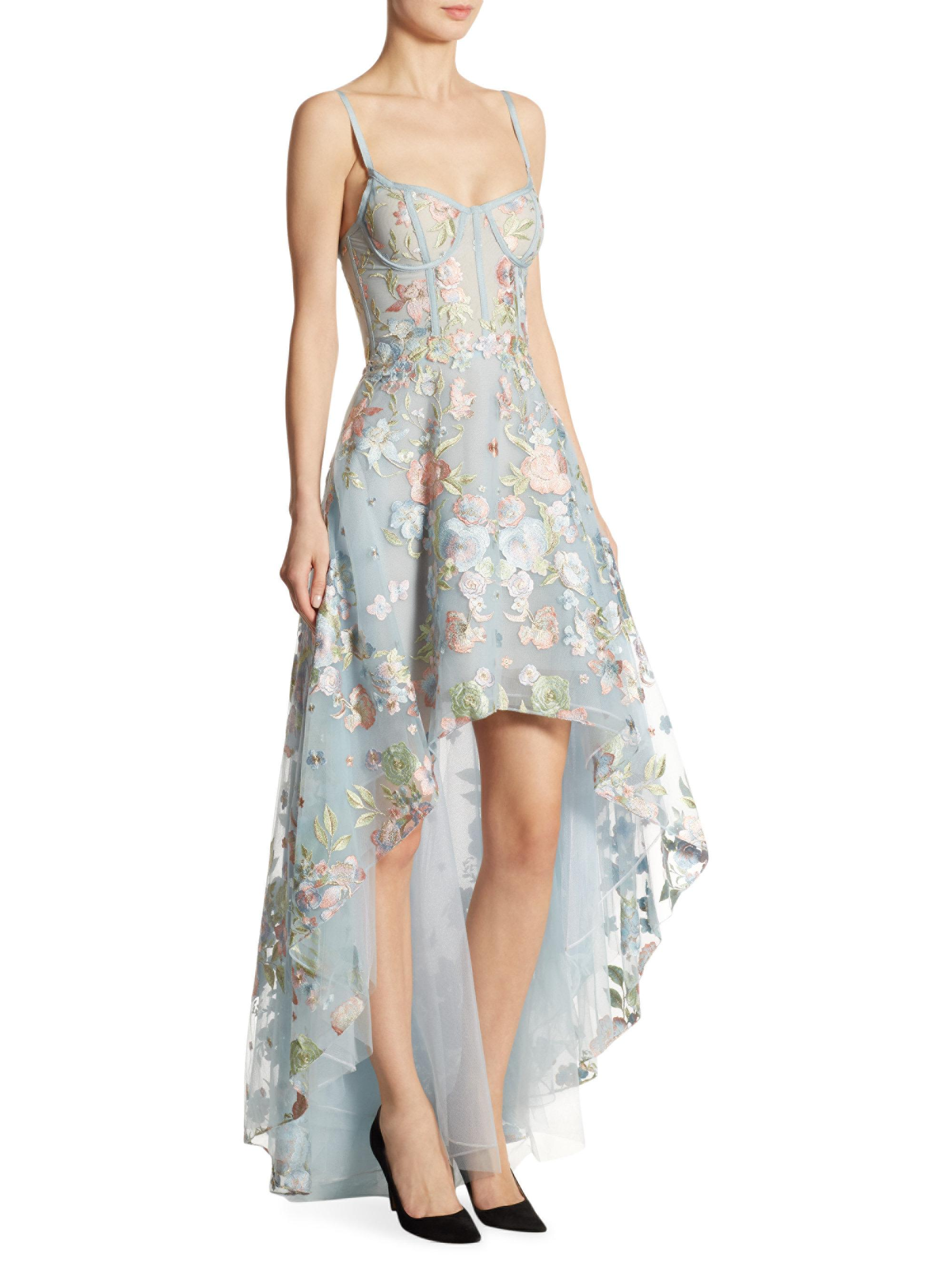 b70ac1d112af Lyst - Marchesa notte Embroidered Tulle Hi-lo Gown in Blue