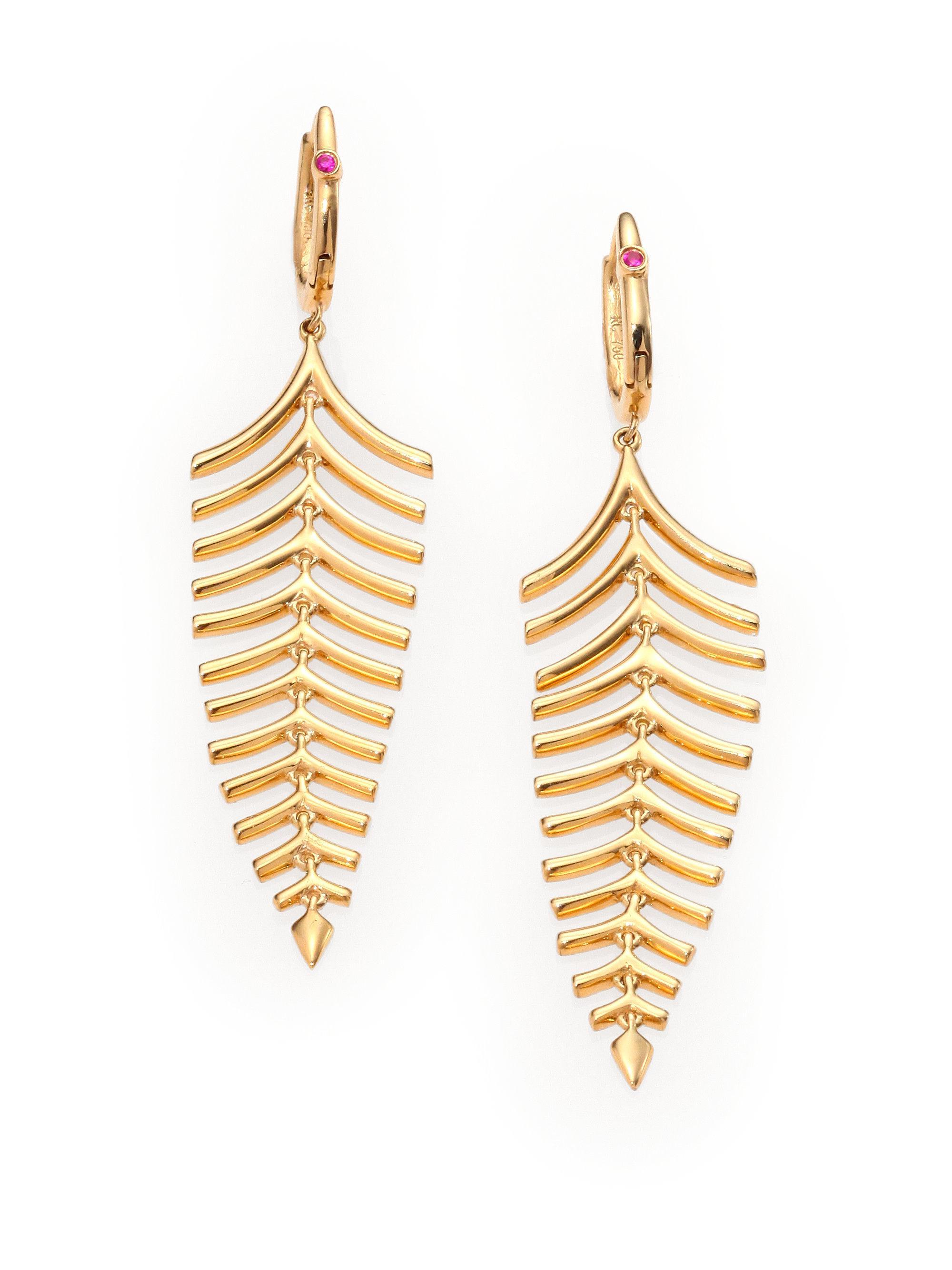 Roberto Coin Women S Metallic 18k Yellow Gold Fishbone Drop Earrings