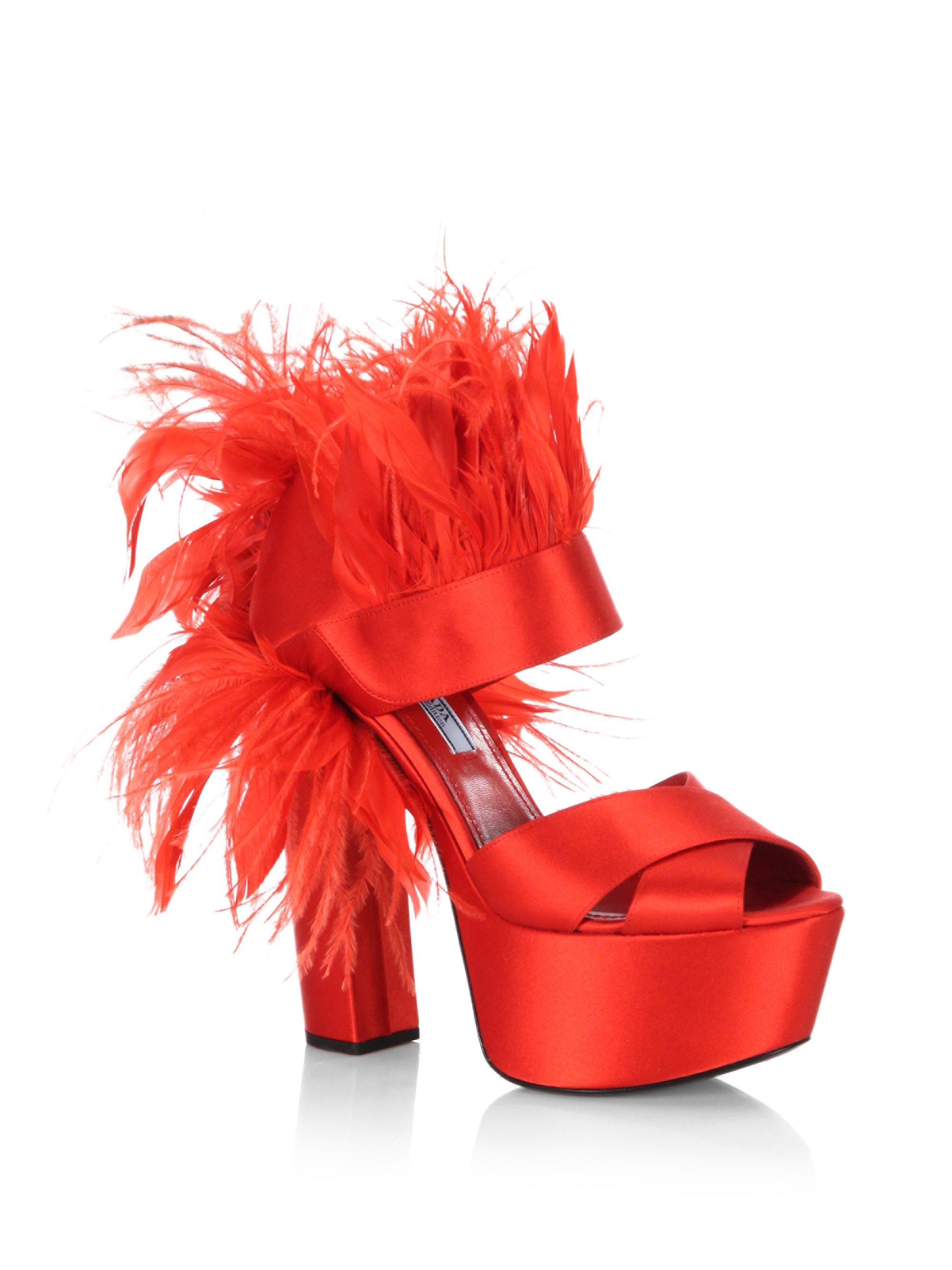 acc2913178b Lyst - Prada Feather-trim Satin Platform Sandals in Red