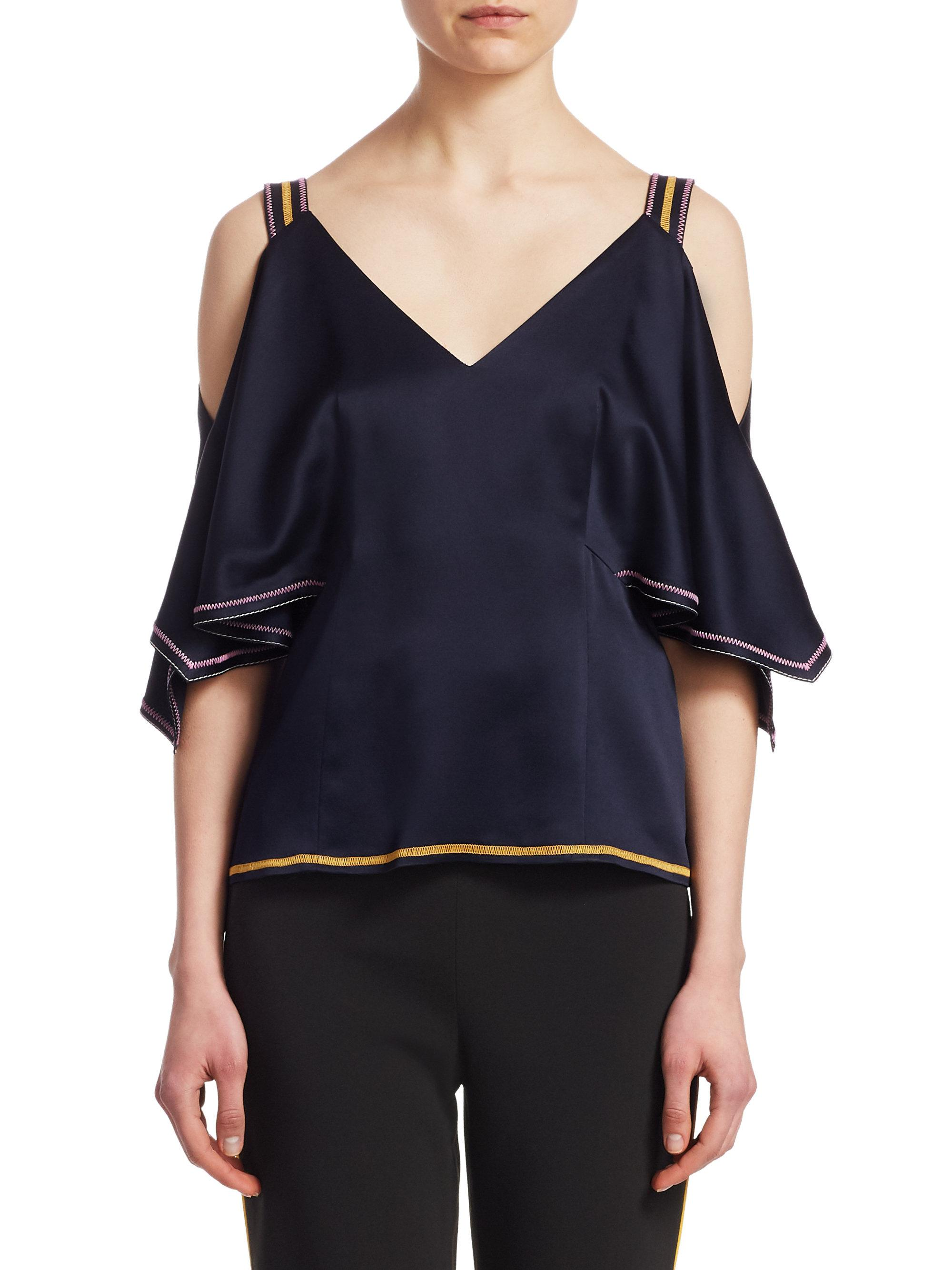 13b028c1f026b4 Lyst - Peter Pilotto Satin Off-the-shoulder Top in Blue