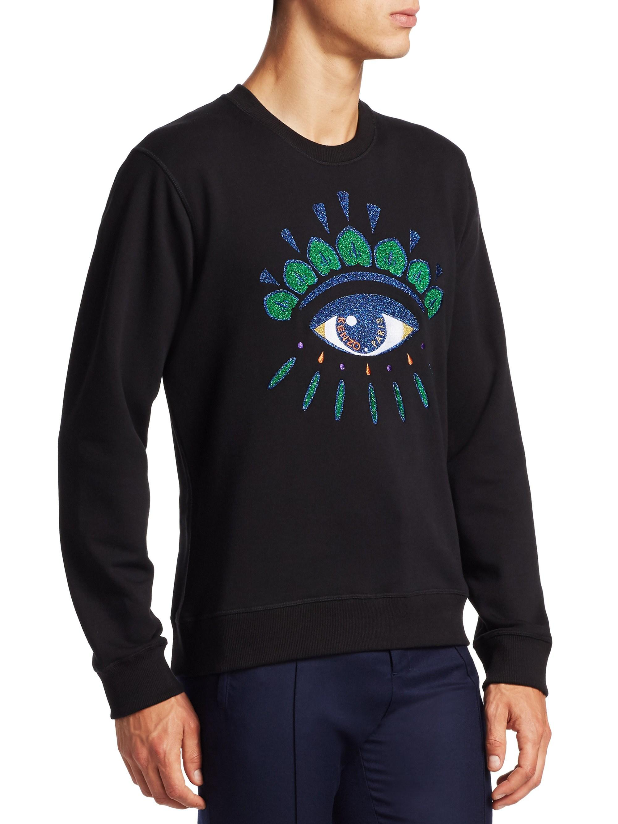 f4a5480a1 KENZO Men's Embroidered Eye Graphic Pullover - Black in Black for Men - Lyst