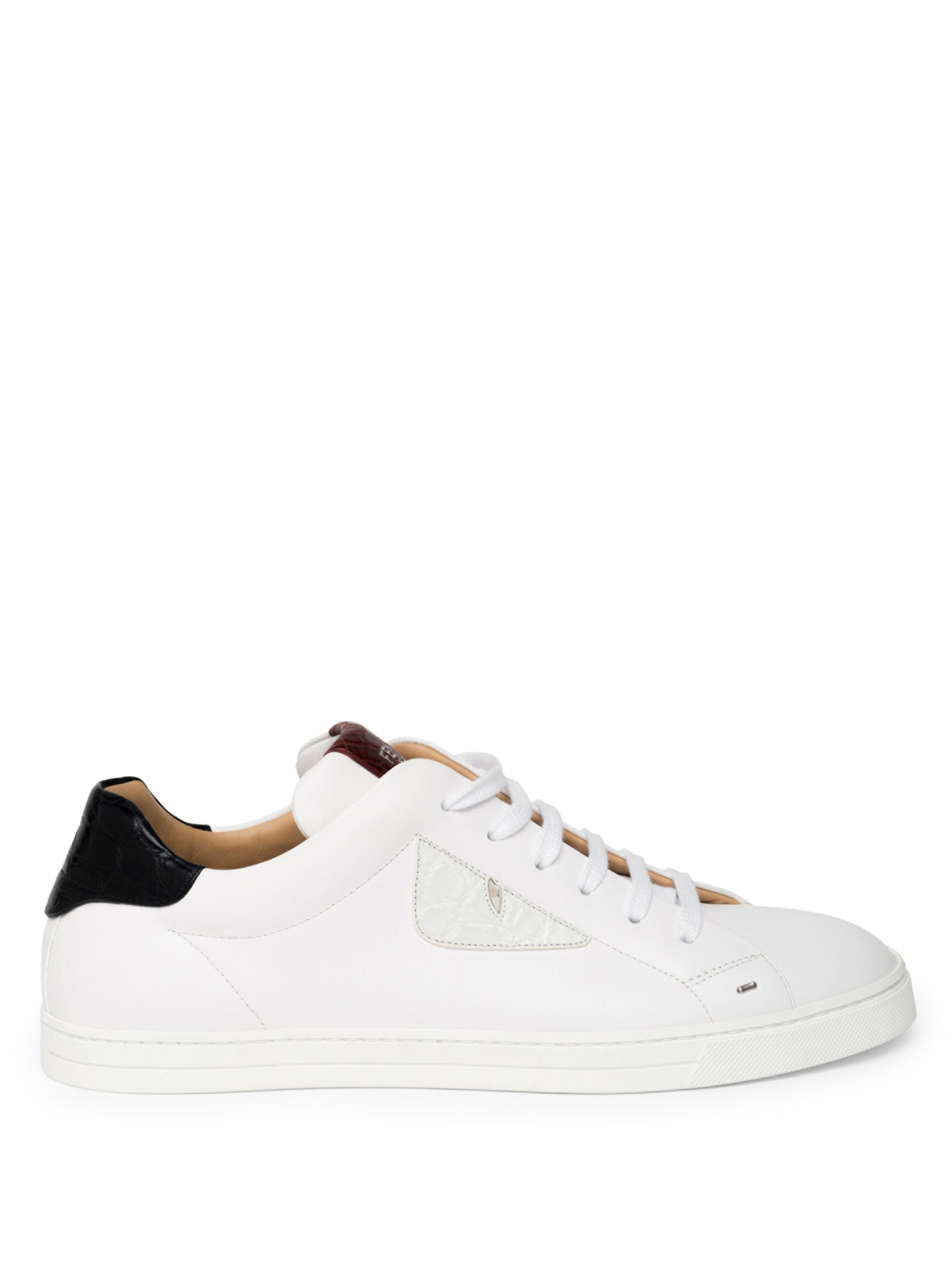 Fendi Caymen Leather Sneakers WHfKIAa