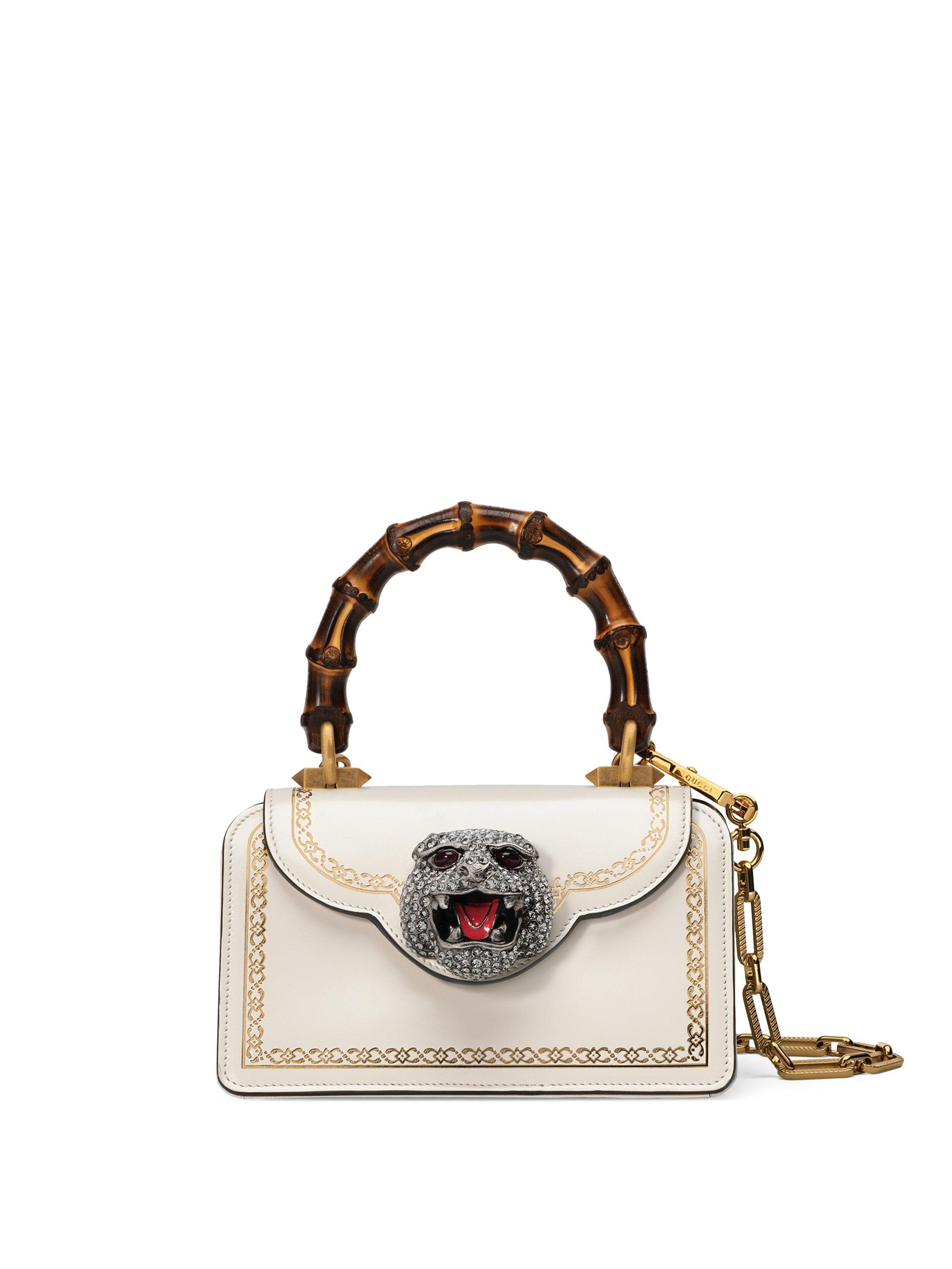 aa092f9c1c2d06 Gucci Frame Print Leather Mini Top Handle Bag in White - Lyst