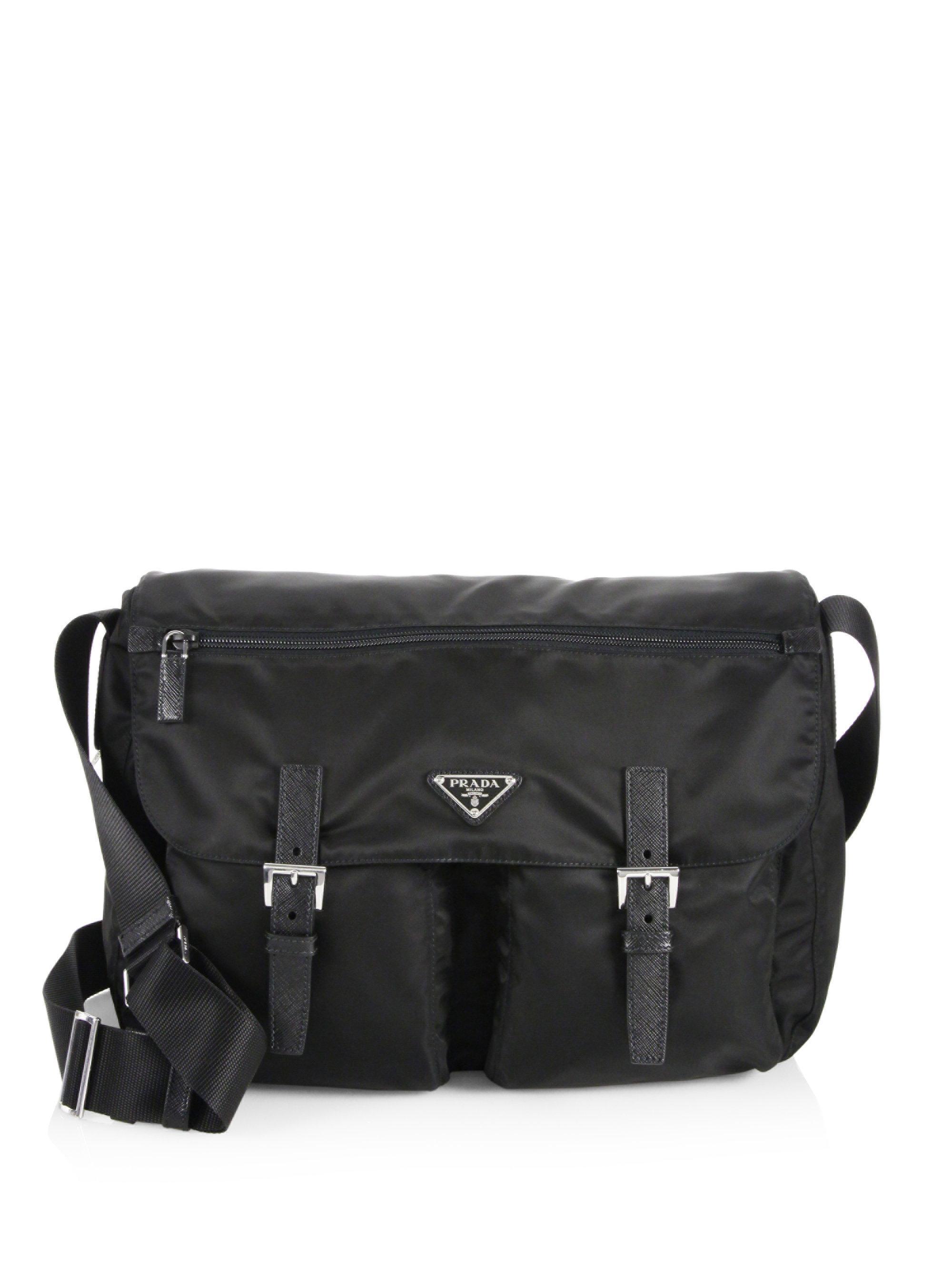 da67df16577d ... cheapest lyst prada nylon saffiano leather messenger bag in black 0ddcf  13528