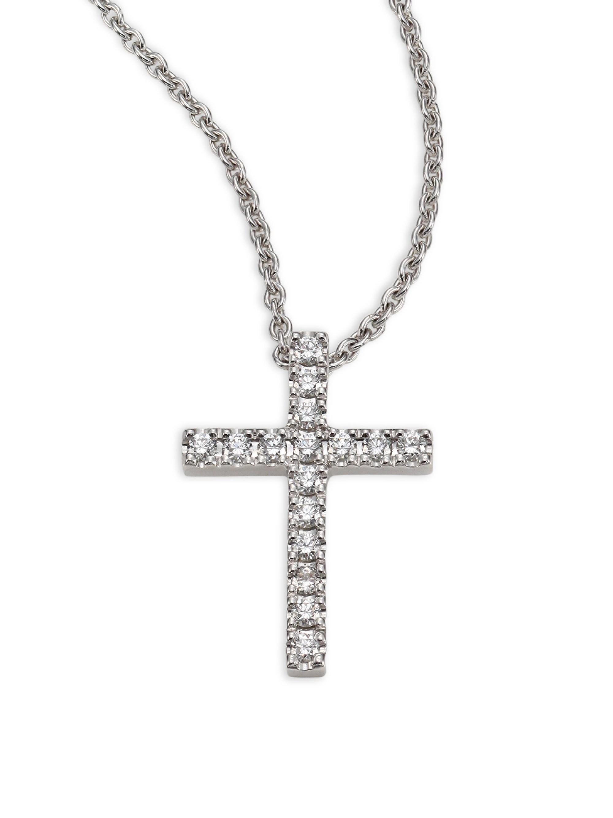 5a1195234dce De Beers. Women s Metallic Classic Diamond   18k White Gold Cross Pendant  Necklace