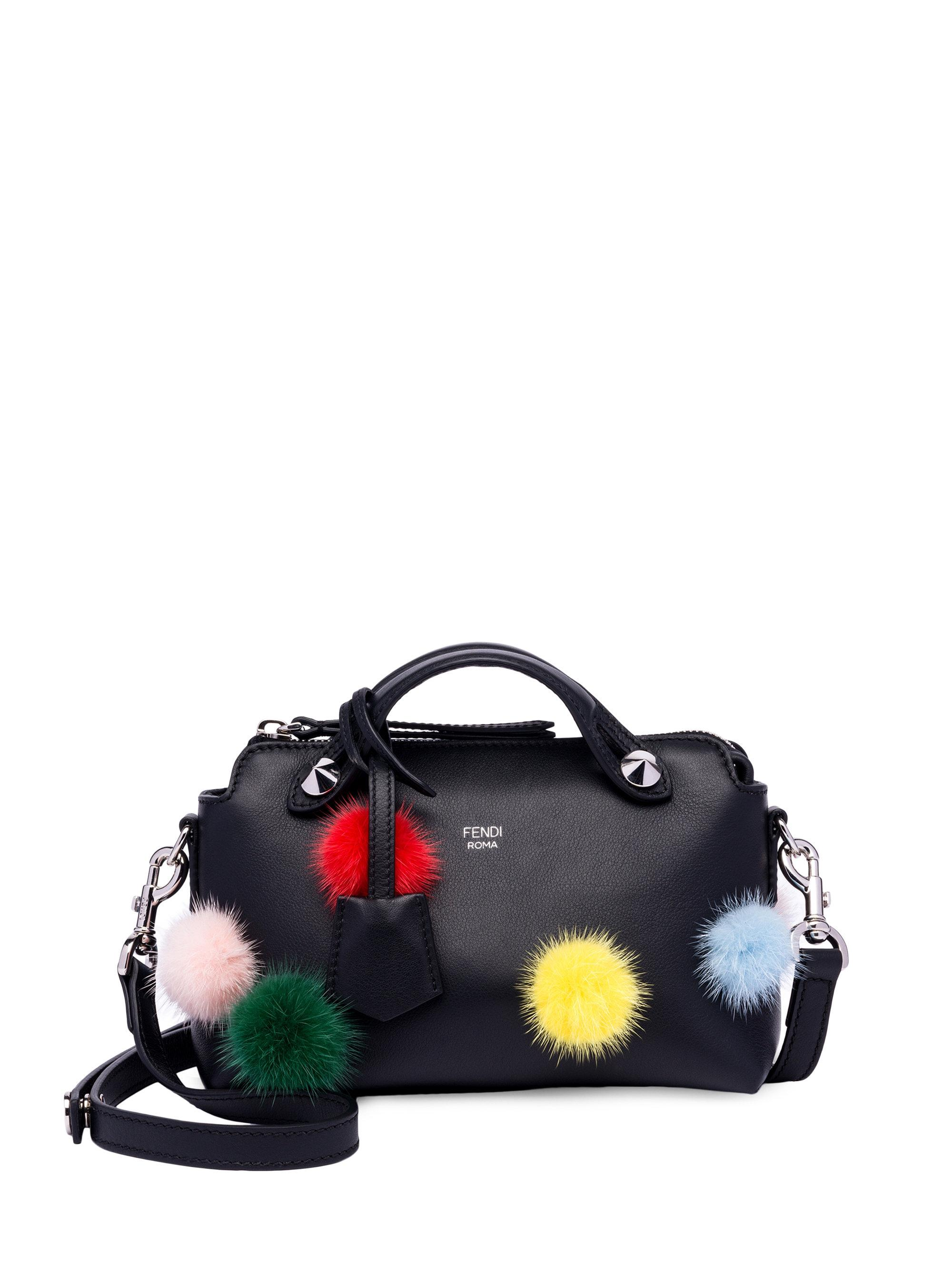 e8c96e2e3aff ... buy lyst fendi by the way mink fur pom pom leather boston bag in black  66821 ...