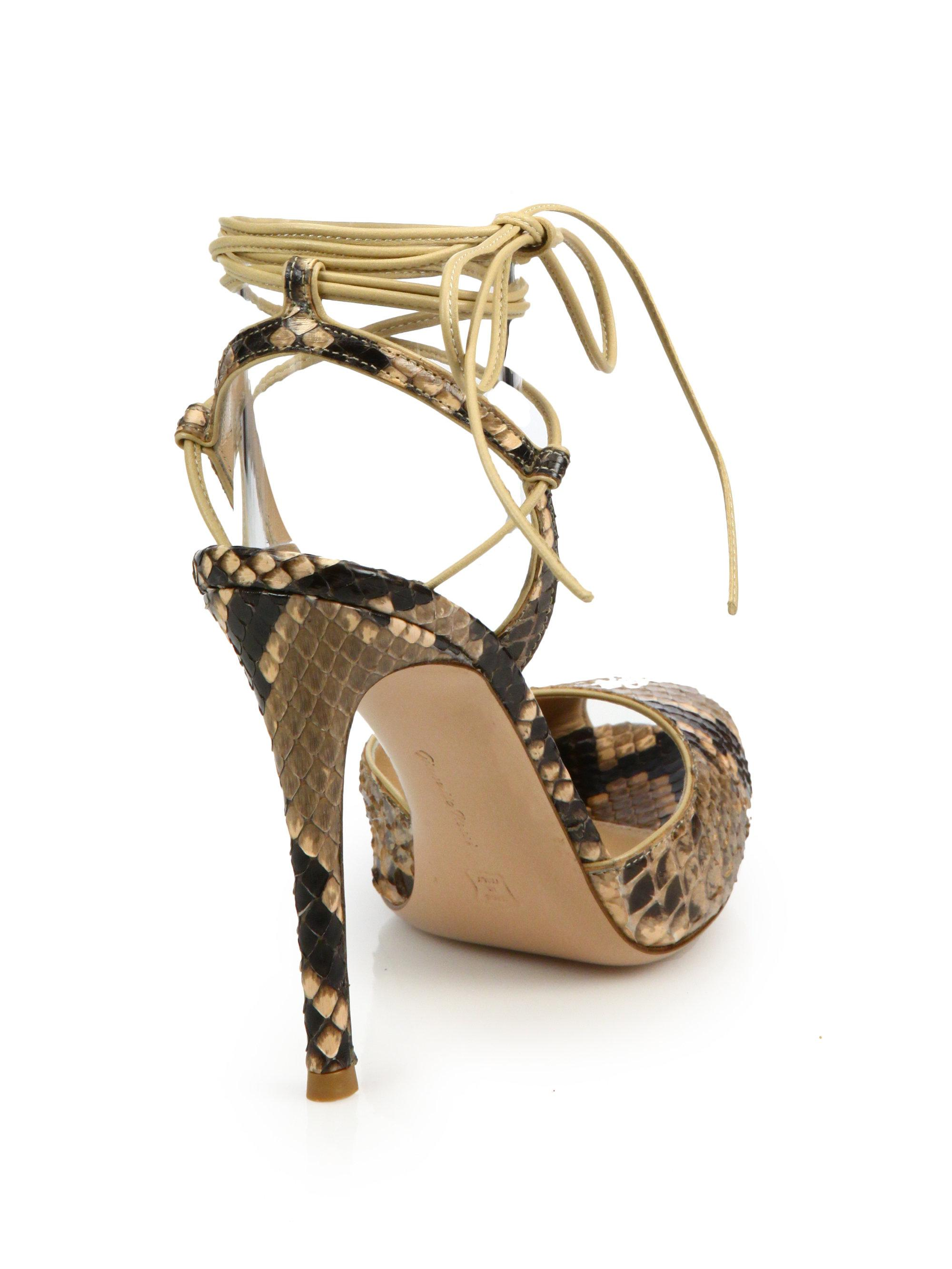 Gianvito Rossi Python-Embossed Leather Peep Toe Ankle-Wrap Sandals 0OuG5YFz