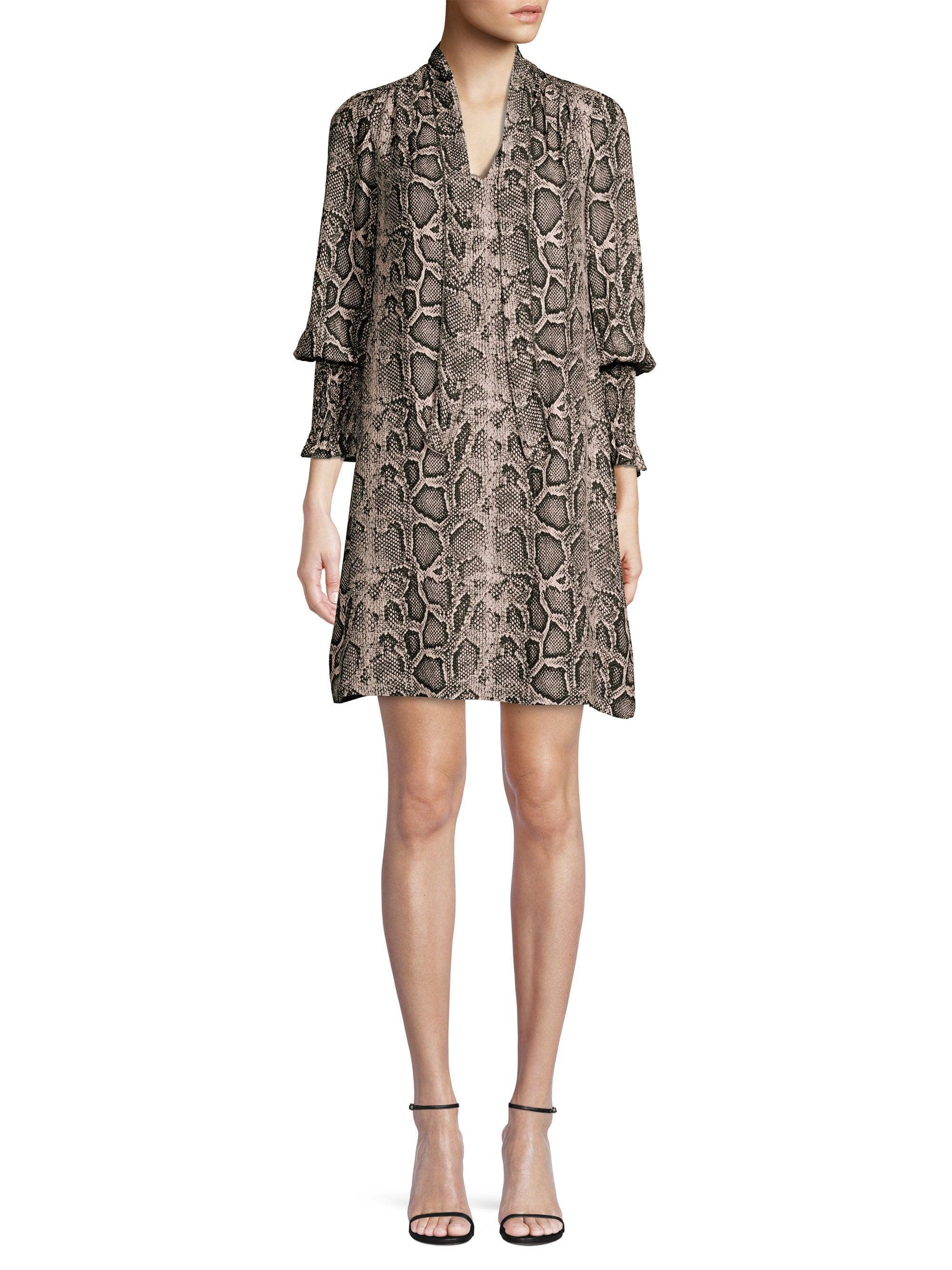 3dc2de00c4a0 Rebecca Taylor Women's Snake Print Shirt Dress - Washed Black - Size ...