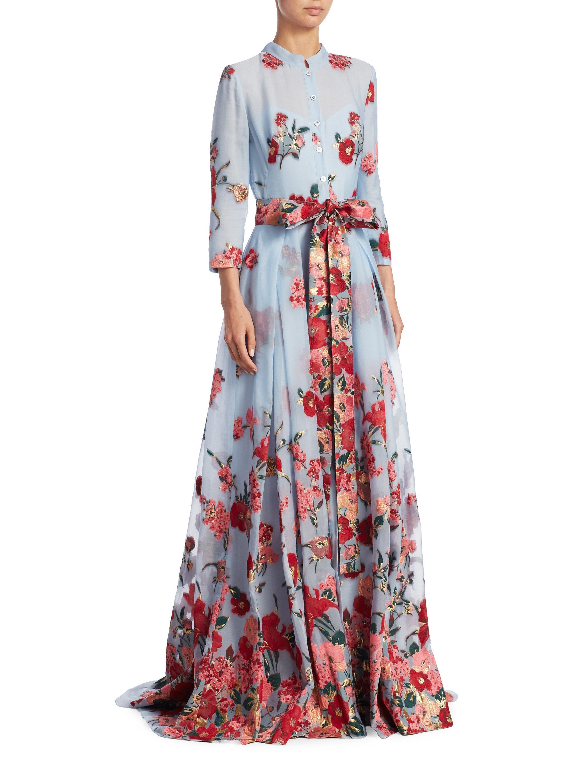 floral sateen neck gown - Blue Carolina Herrera FQreGdP