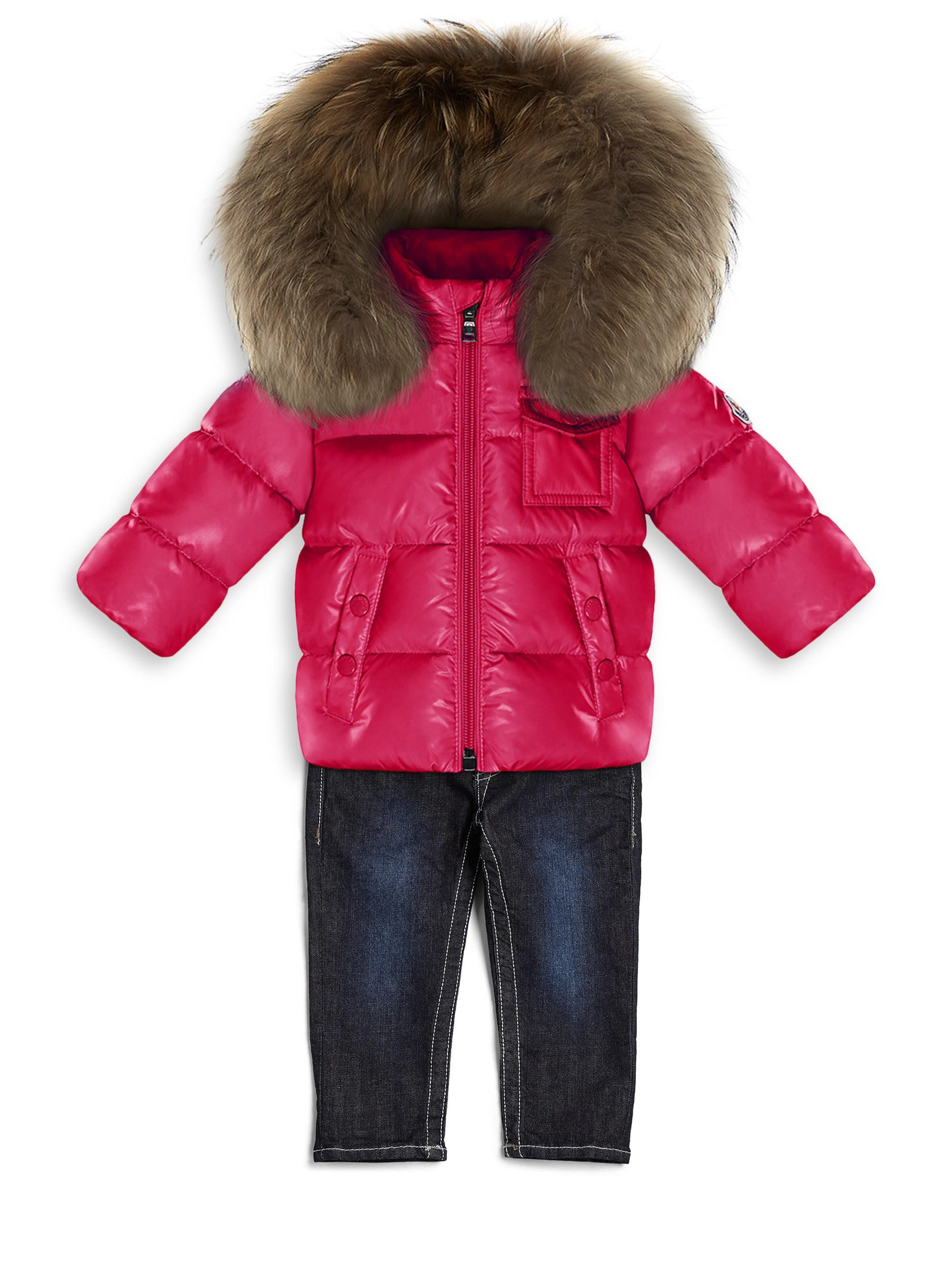 cf609f404 Moncler Baby Girl s K2 Fox Fur   Nylon Jacket - Lyst