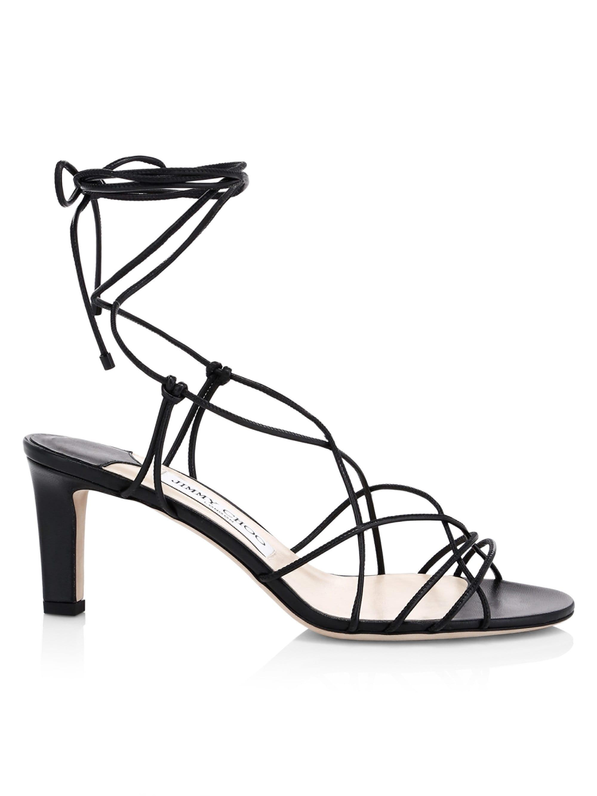 a8fc97fee8 Lyst - Jimmy Choo Tao Lace-up Leather Sandals in Black