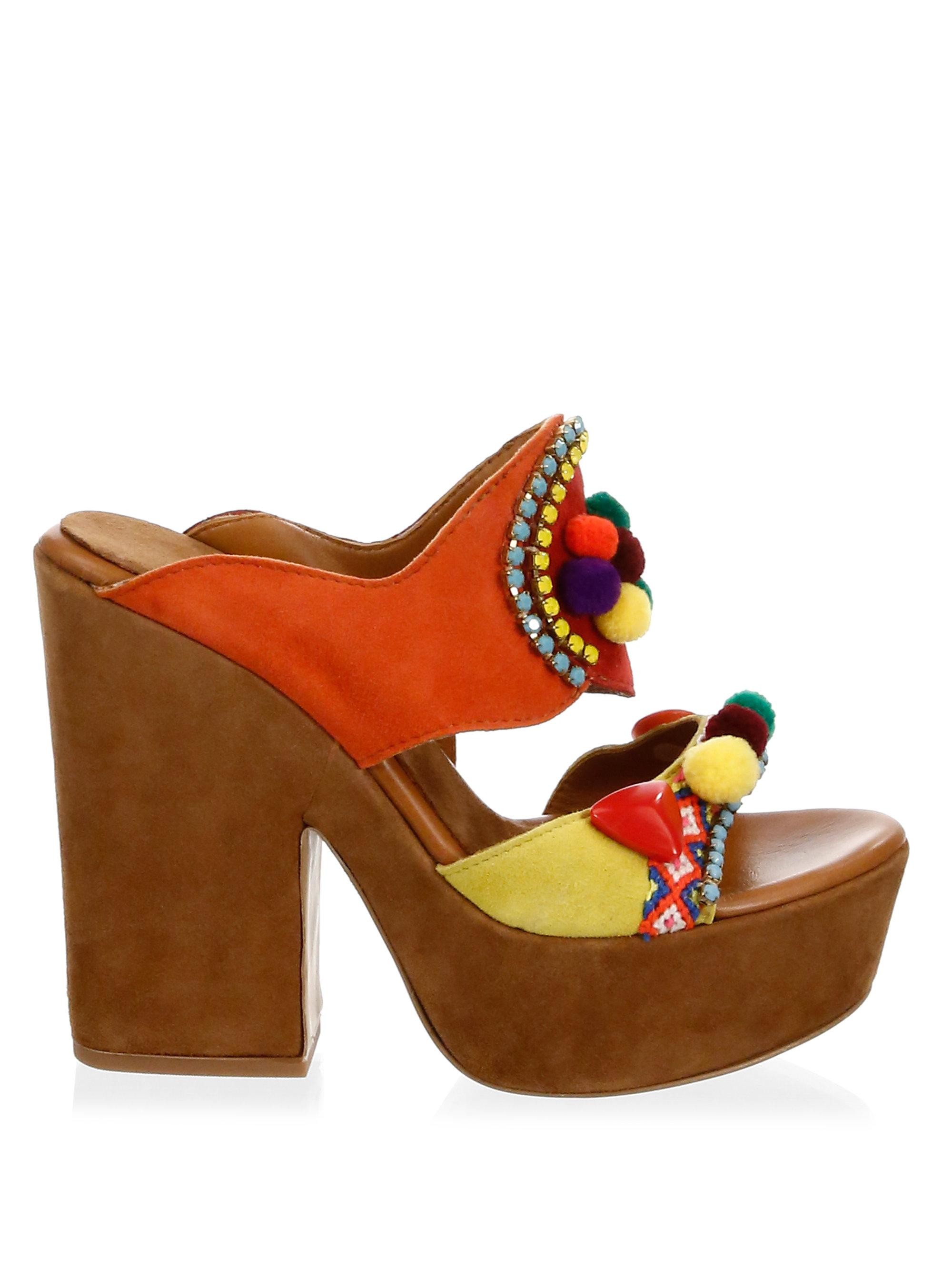 Elina Linardaki La Fiesta Suede Platform Sandals b29na0Ge
