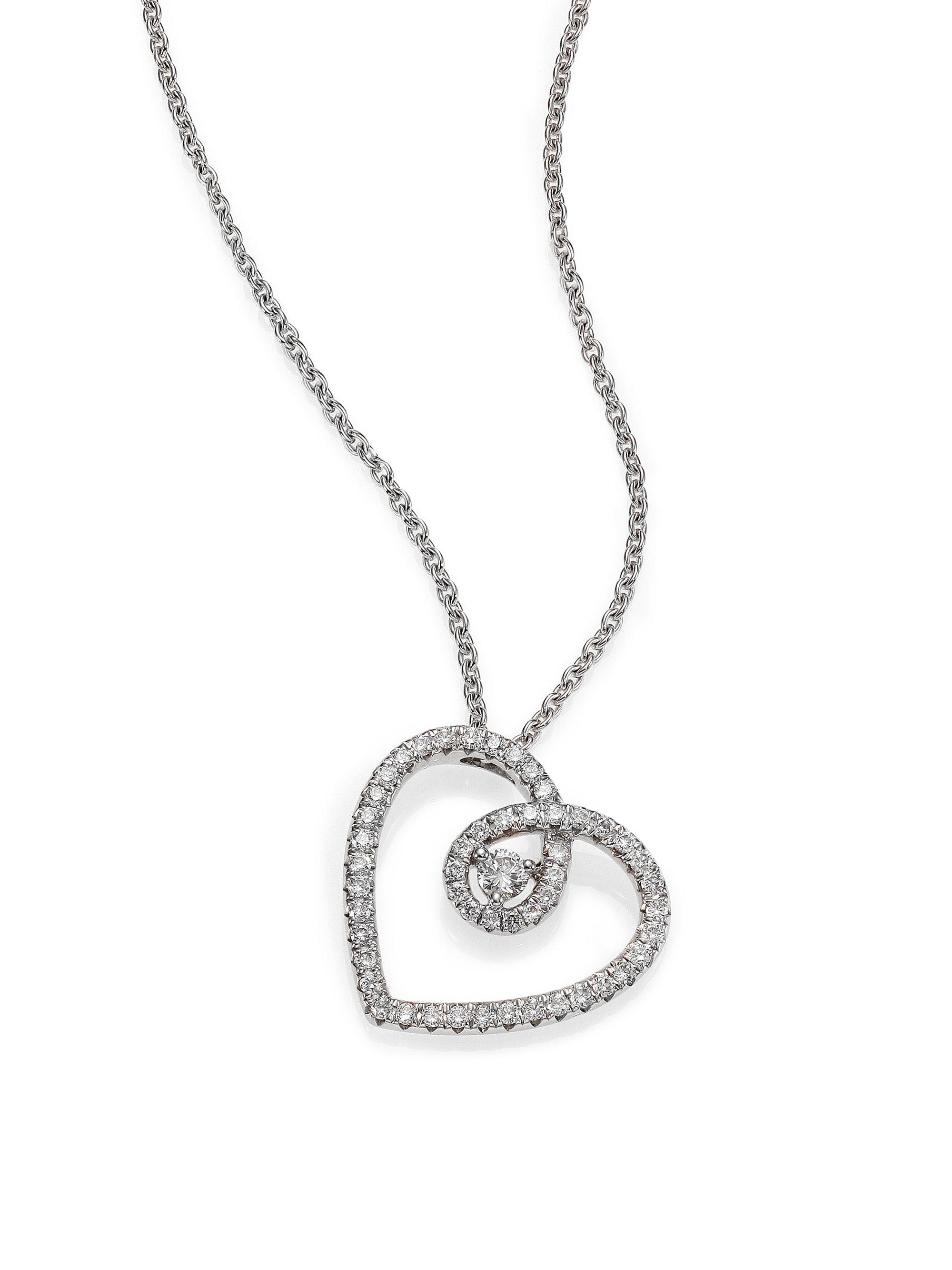 Lyst de beers classic diamond 18k white gold heart pendant de beers womens metallic classic diamond 18k white gold heart pendant necklace mozeypictures Images