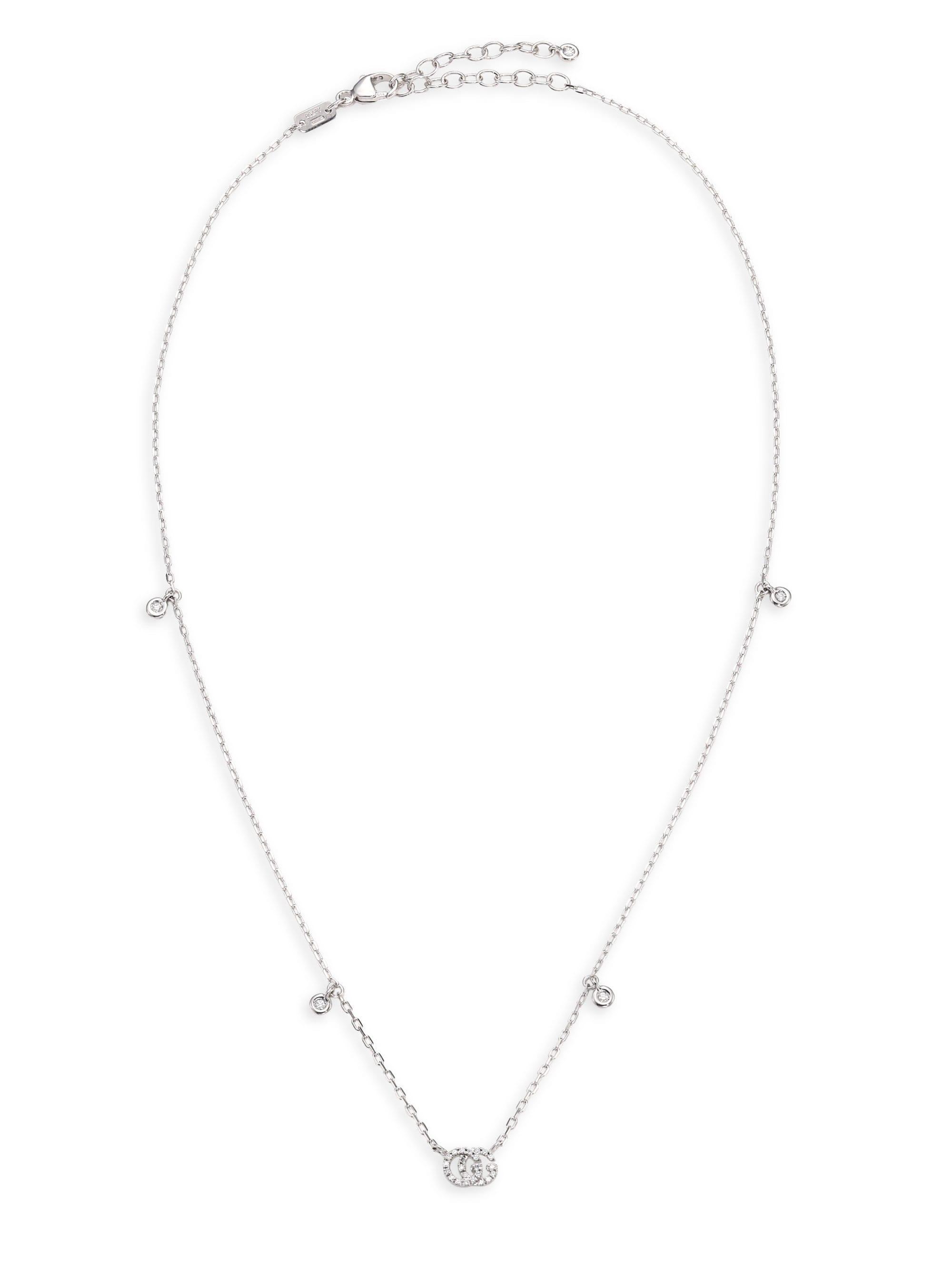54fc7e145e Lyst - Gucci 18k White Gold Diamond Necklace in Metallic