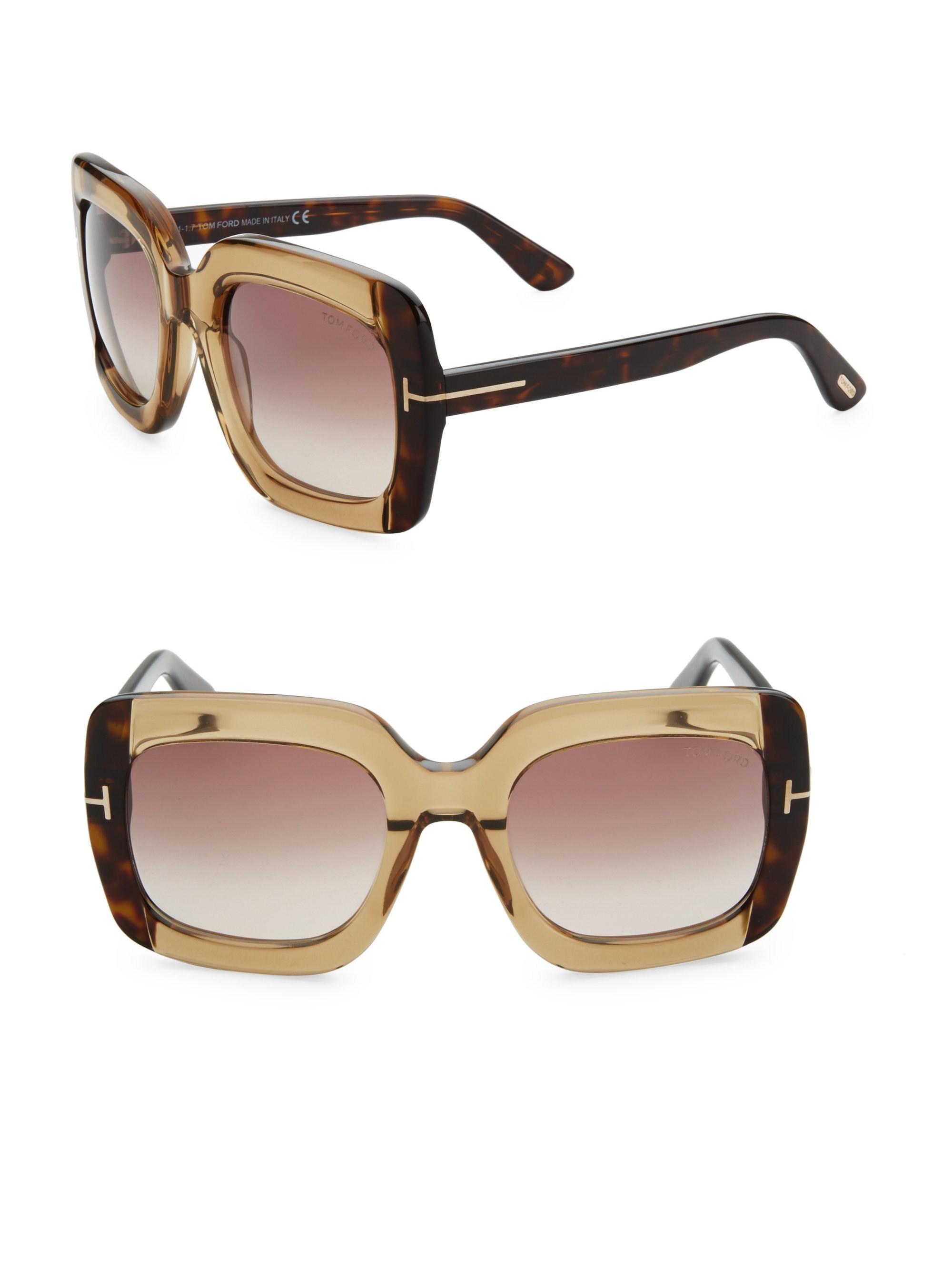 2ae4c1d0b5f Lyst - Tom Ford Women s Helene Plastic Sunglasses - Brown in Brown