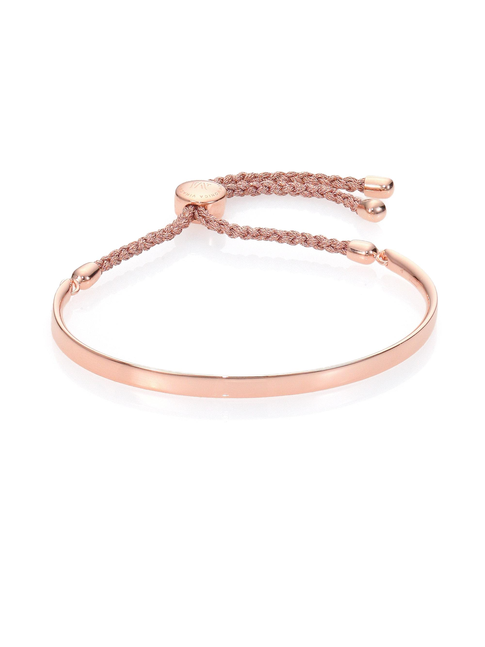 Fiji Friendship Bracelet - Black, Rose Gold Vermeil on Silver Monica Vinader