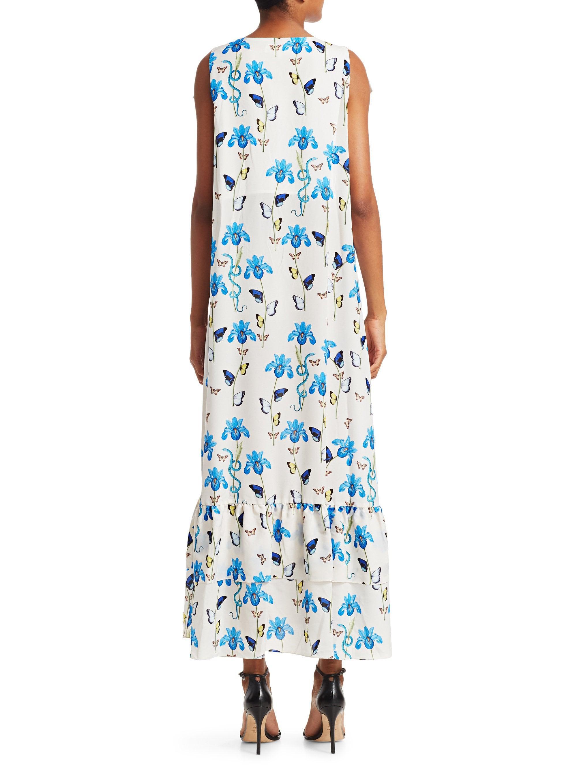 9ae27d7085a Lyst - Borgo De Nor Women s Carlotta Tie-waist Maxi Dress - Iris Ivory -  Size Uk 6 (2) in Blue