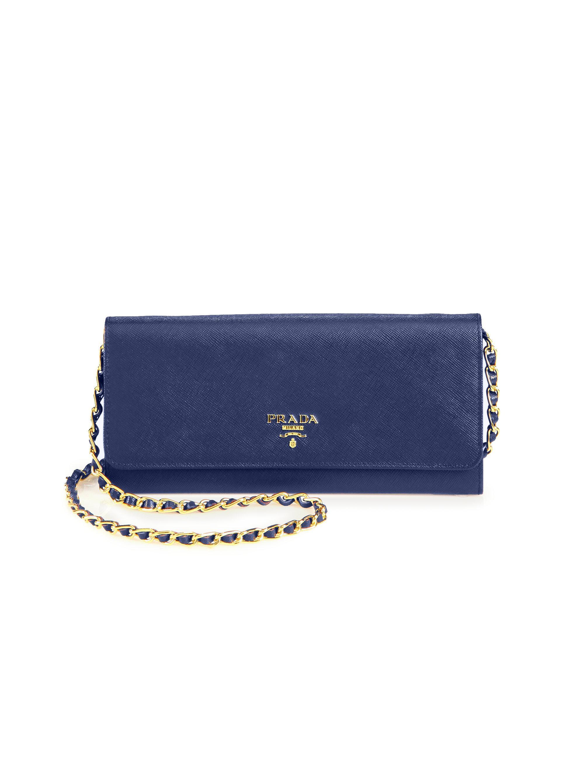 00af06853e62 ... usa lyst prada saffiano metal oro chain wallet in blue beaec 973c4