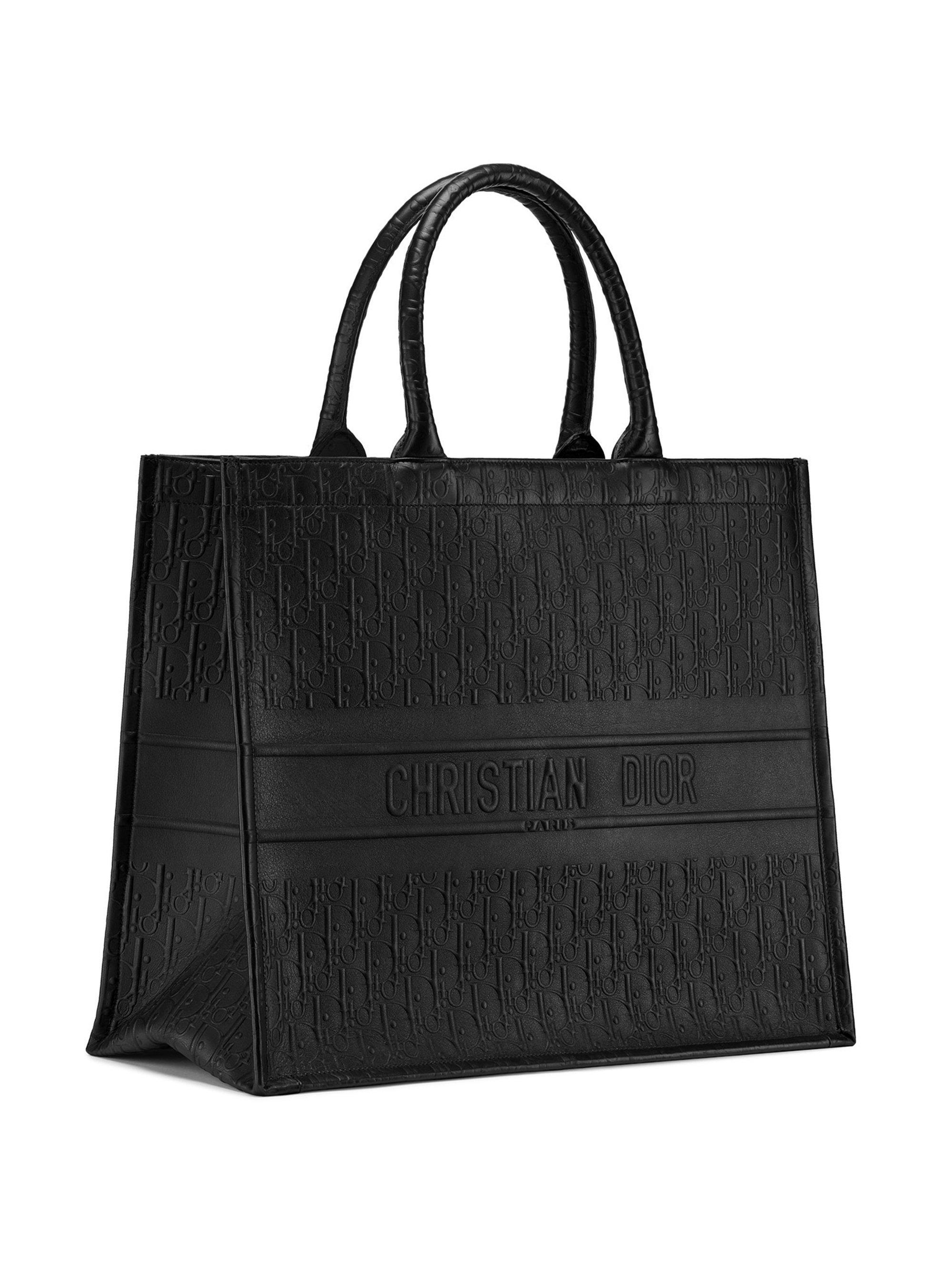 Lyst - Dior Oblique Embossed Leather Book Tote in Black 6c2febb819660