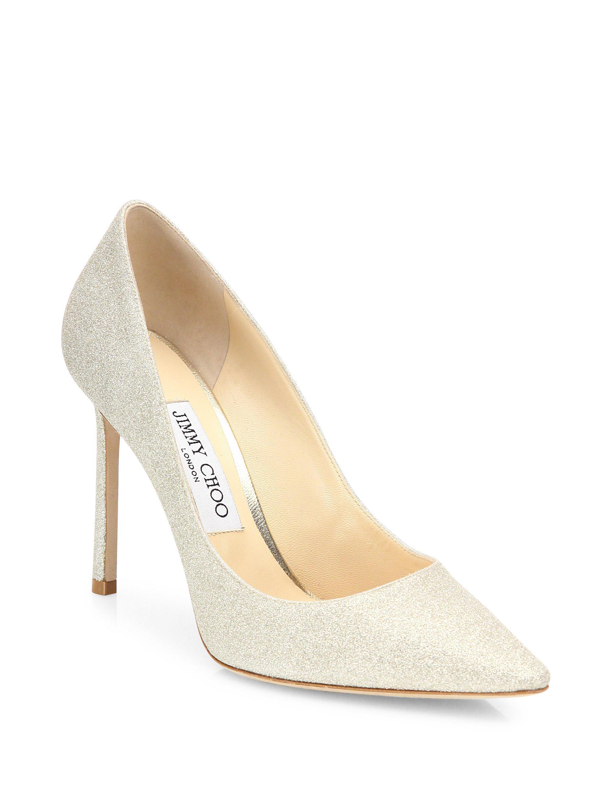 jimmy choo women s romy 100 glitter leather high heel pumps lyst rh lyst co uk
