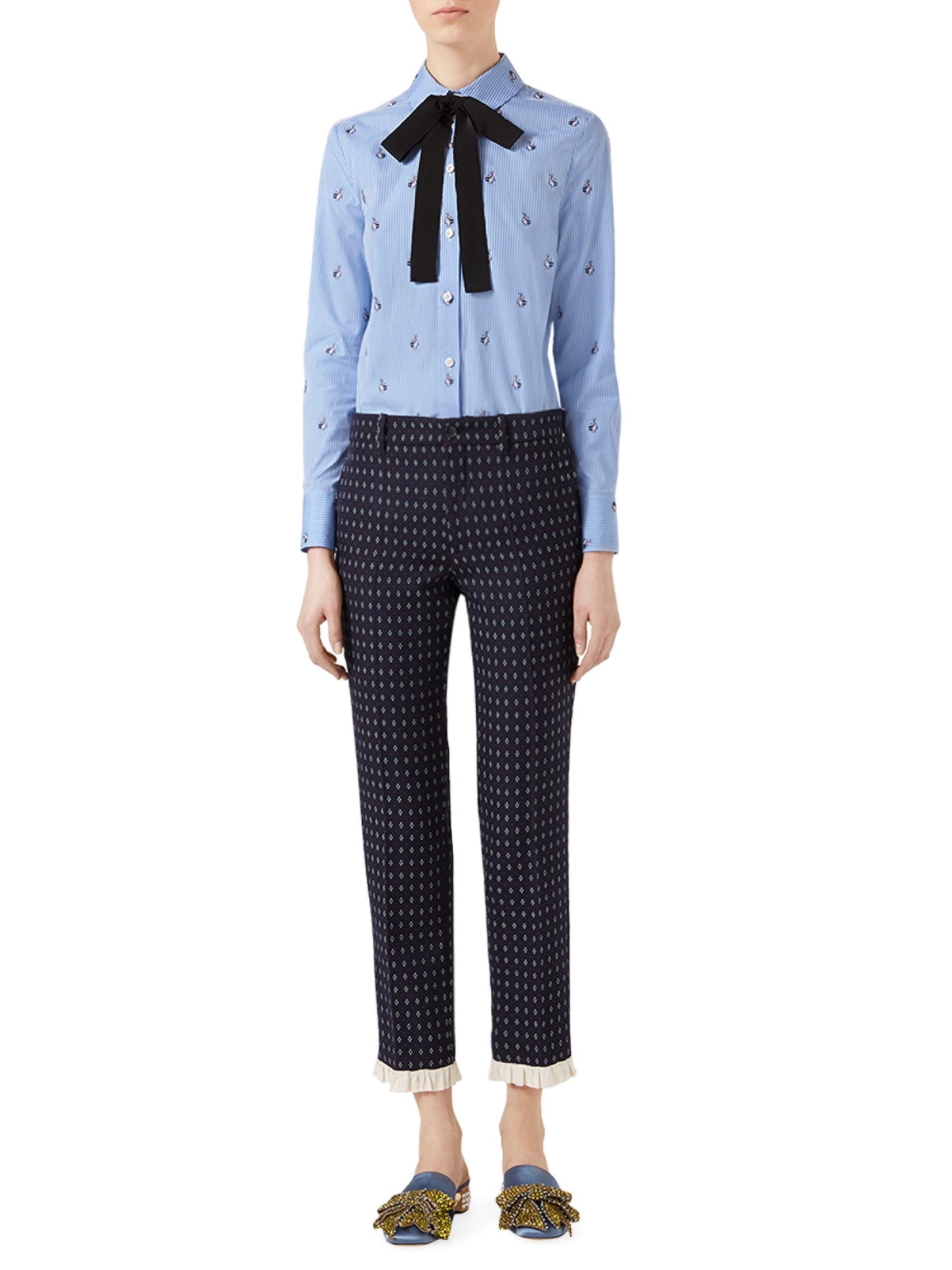 5613ee625 Gucci Women's Rabbit Fil Coupé Cotton Tie-neck Shirt - Blue in Blue ...