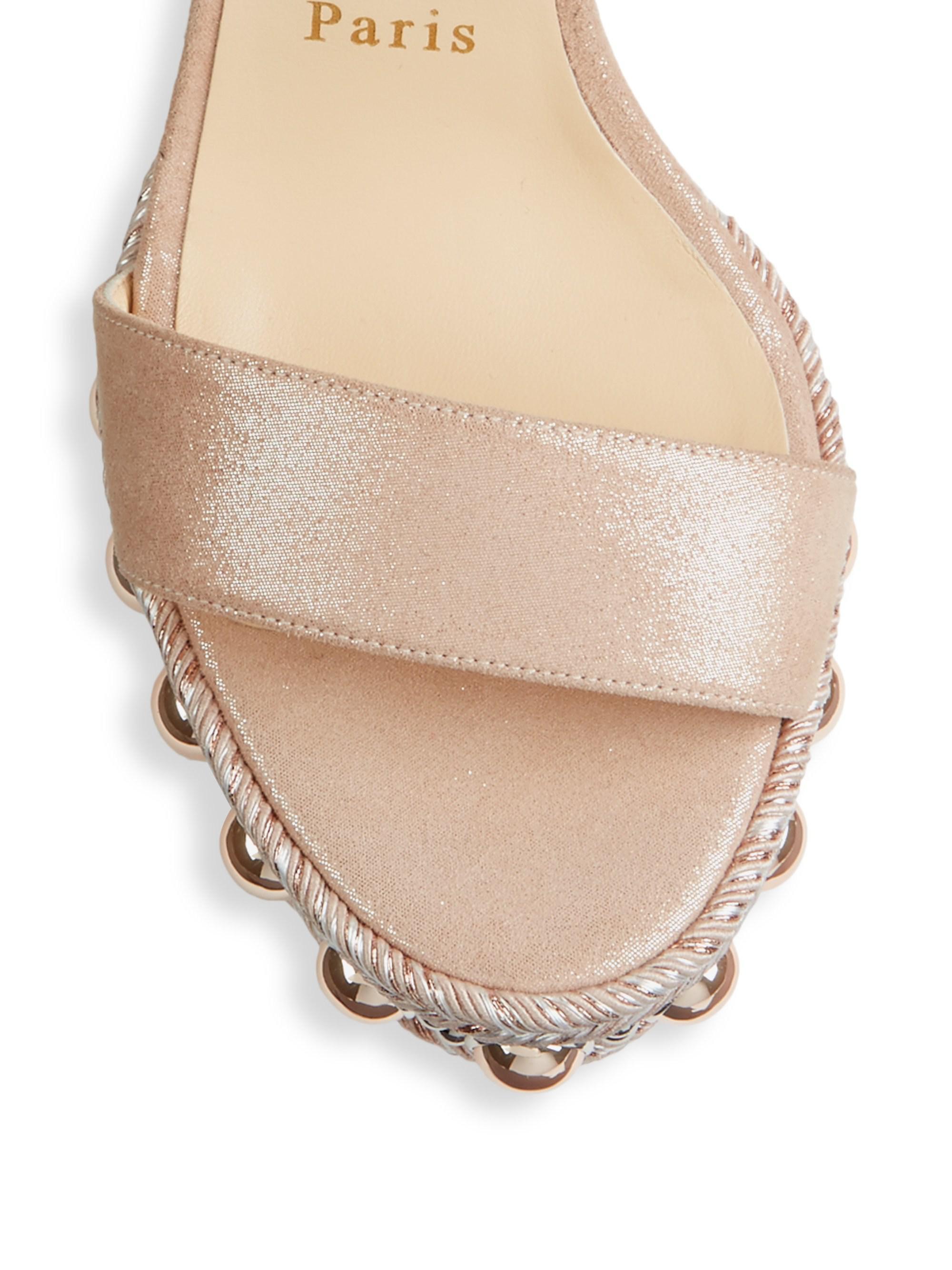 5e12acb54290 Christian Louboutin - Natural Chocazeppa Ornament Platform Wedge Sandal -  Lyst. View fullscreen